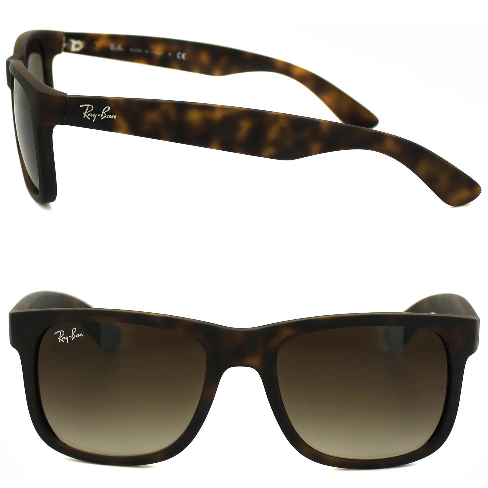 d3c72ca434f Sentinel Ray-Ban Sunglasses Justin 4165 710 13 Rubber Light Havana Brown  Gradient Small