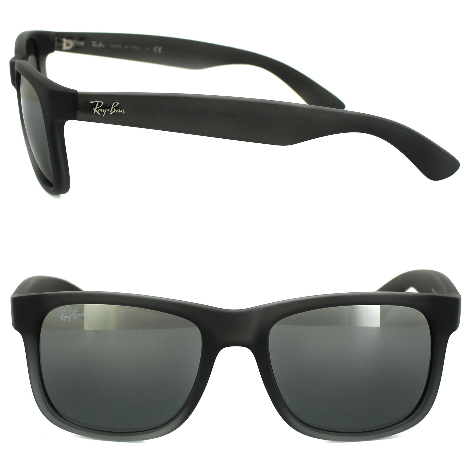 Sentinel RayBan Sunglasses Justin 4165 852 88 Rubber Grey Grey Silver  Mirror Gradient 9867e4666a