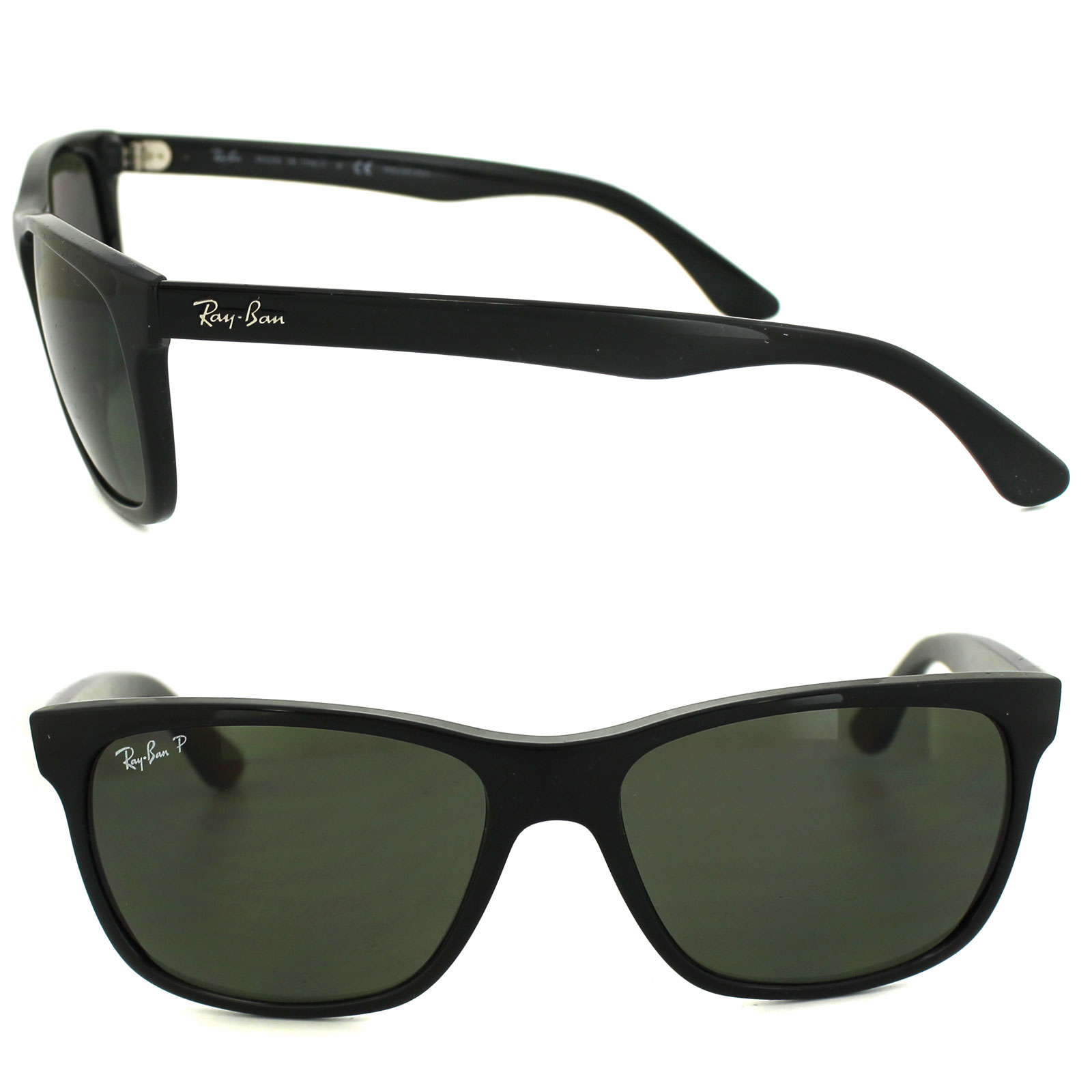 4d13b53539 RayBan Sunglasses 4181 601 9A Black Polarized Green 713132452646