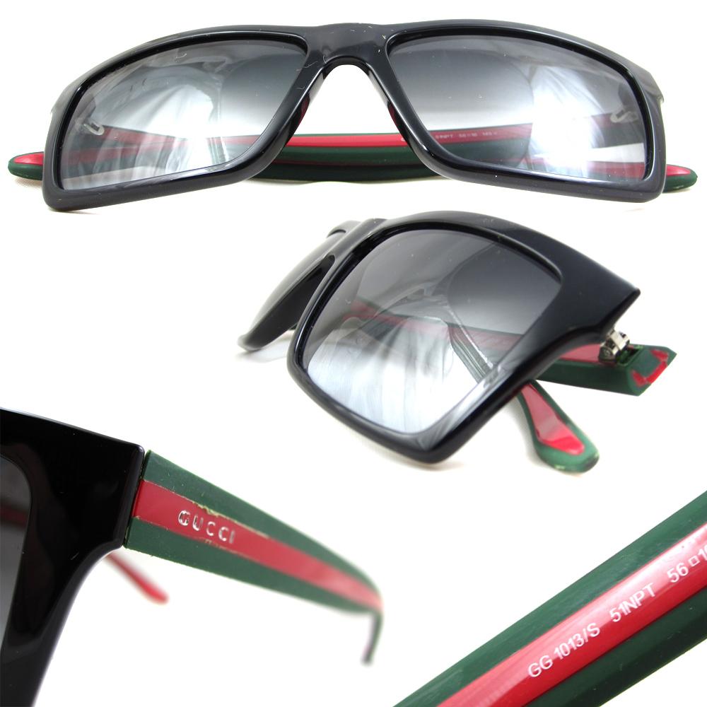 192b23806b57 ... Gucci Sunglasses 1013 51N PT Shiny Black Green & Red Grey Gradient  Thumbnail ...
