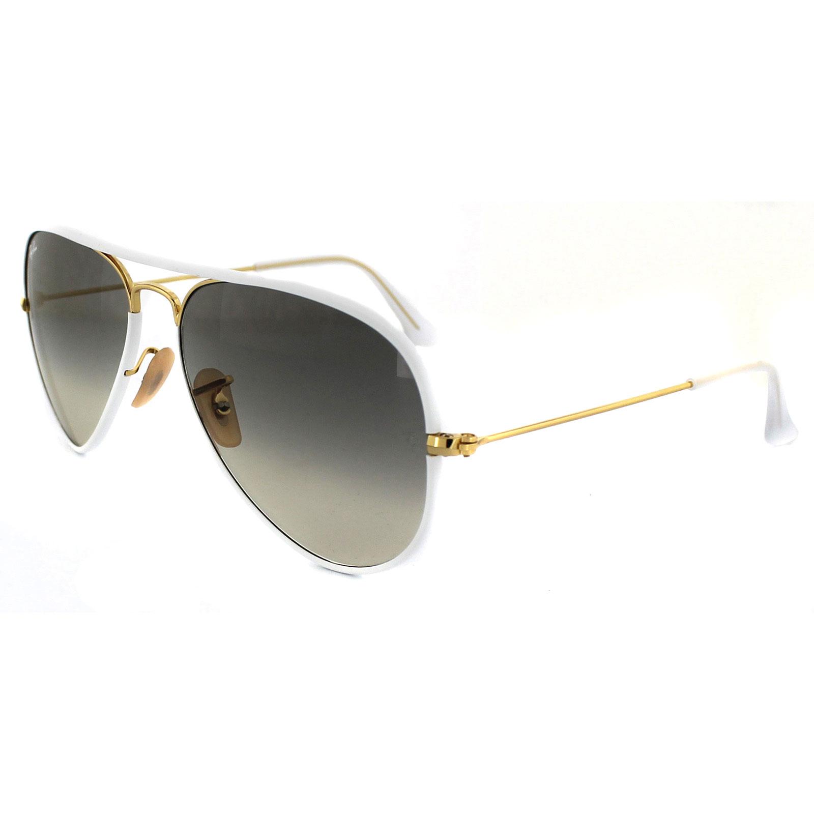 0b0c21f2f9a4a Sentinel Ray-Ban Sunglasses Aviator Full Colour 3025JM 146 32 White Gold  Grey Gradient M
