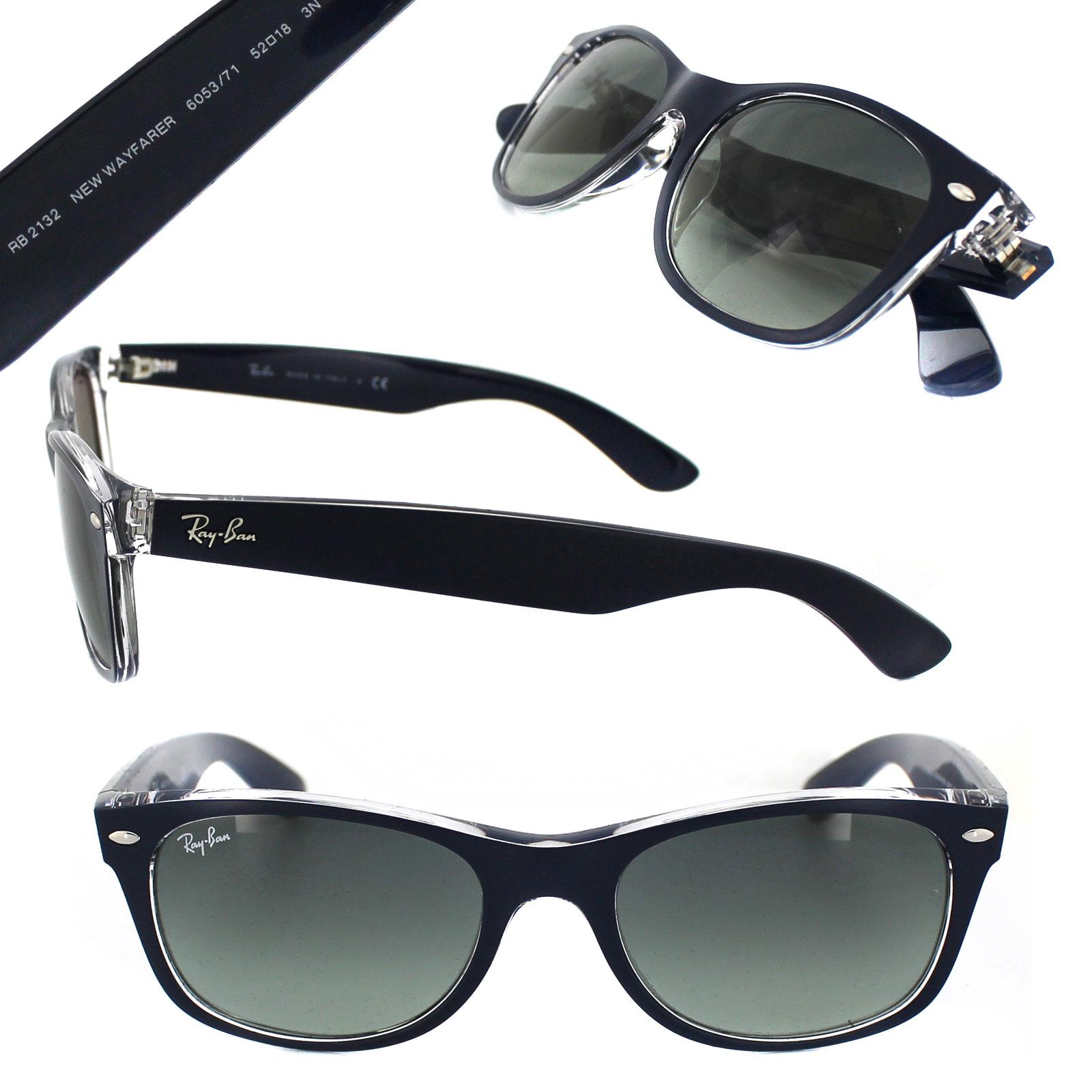 Sentinel Ray-Ban Sunglasses New Wayfarer 2132 605371 Blue Transparent Grey  Gradient Small 58916fb69438