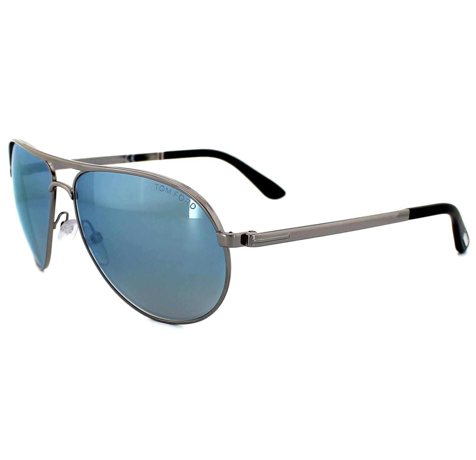 bc1c32d24c9a Sentinel Tom Ford Sunglasses 0144 Marko 14X Shiny Light Ruthenium Blue  Mirror