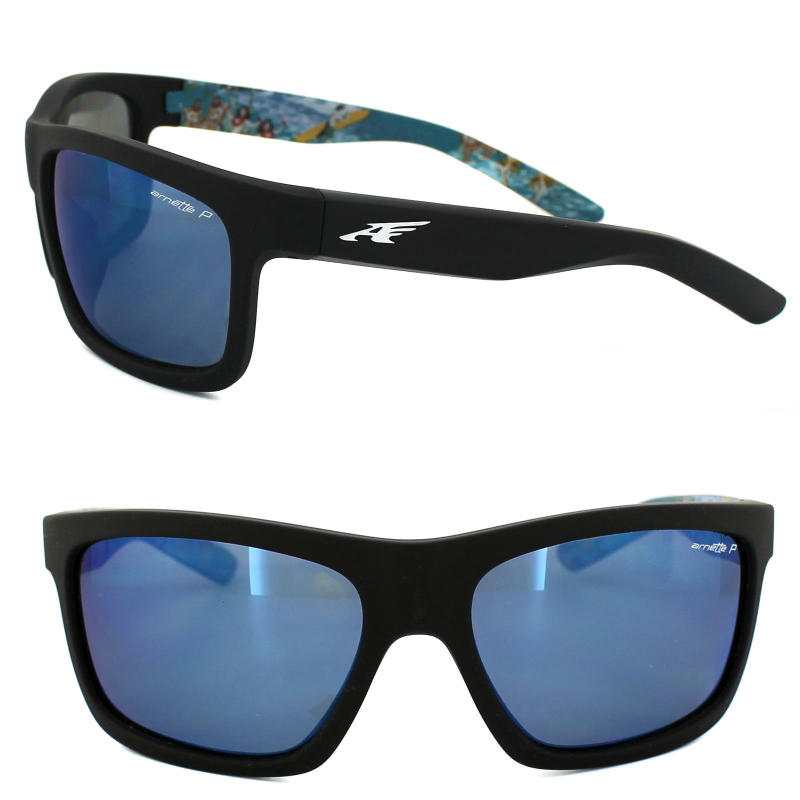 d37027dea4 Sentinel Arnette Sunglasses 4190 Easy Money 2222/22 Black Aloha Blue Mirror  Polarized