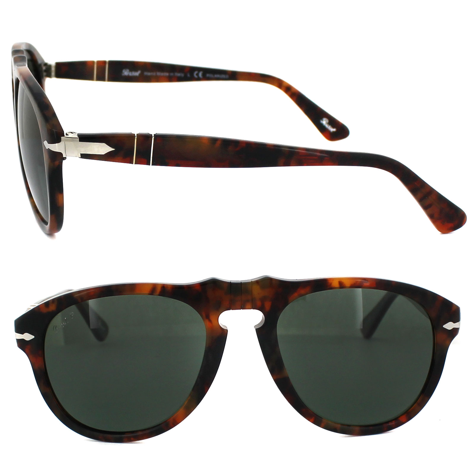 412dd47c48c Sentinel Persol Sunglasses 0649 108 58 Spotted Brown Caffe Green Polarized  52mm