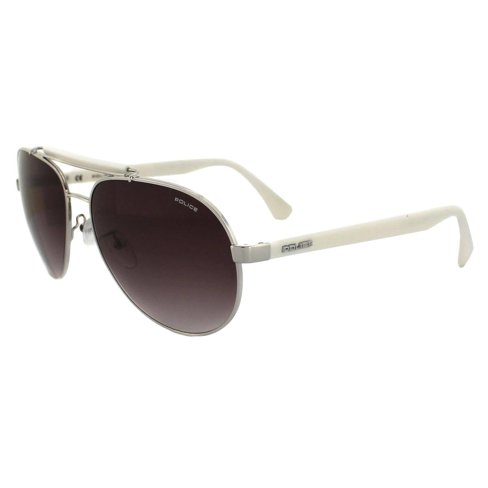 518ce1f05f5c3 Sentinel Police Sunglasses 8644 579 Silver   White Brown Gradient