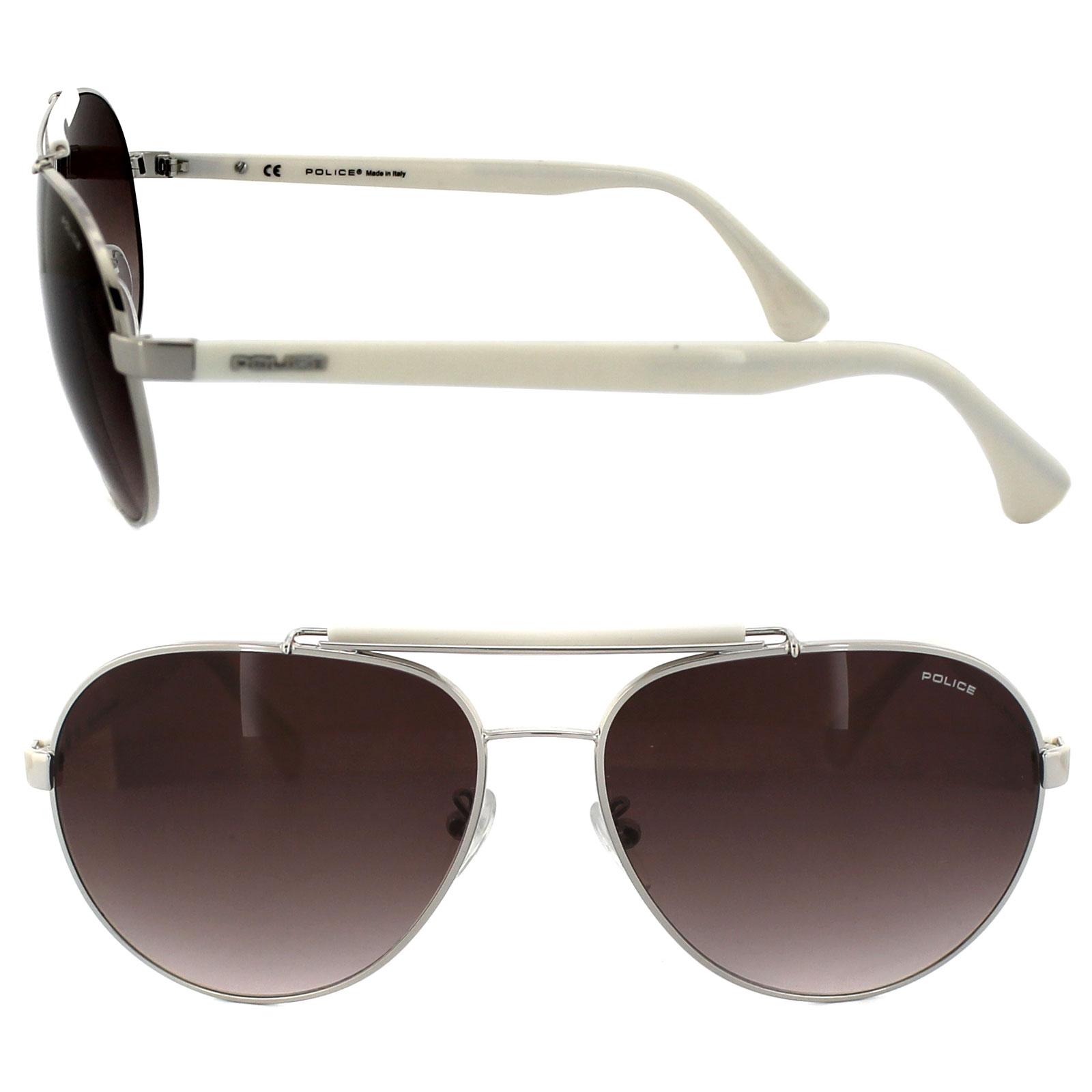 27e193f89f ... Police Sunglasses 8644 579 Silver   White Brown Gradient Thumbnail ...