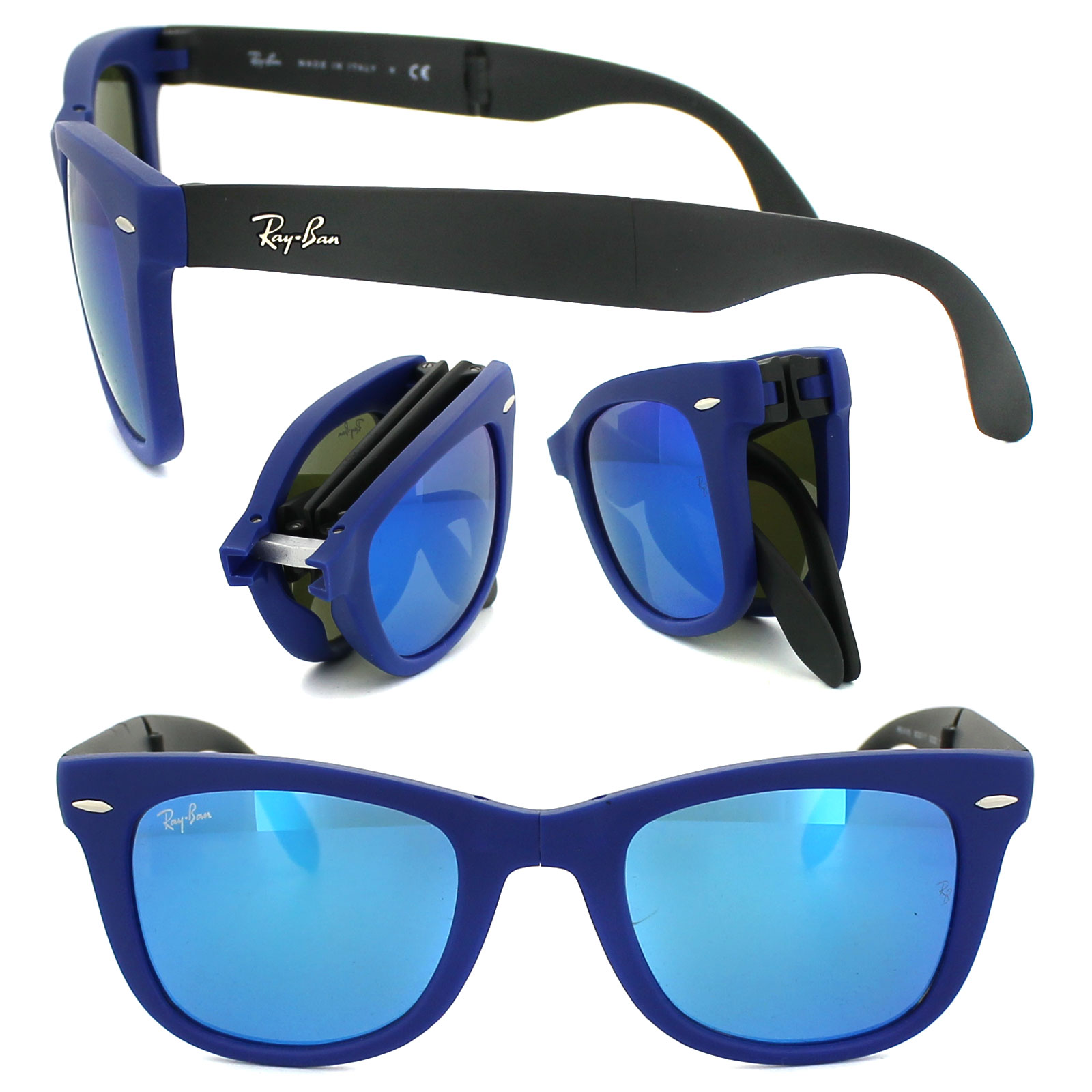 f8ff79bba2 Sentinel Ray-Ban Sunglasses Folding Wayfarer 4105 602017 Matt Blue   Grey  Blue Mirror M