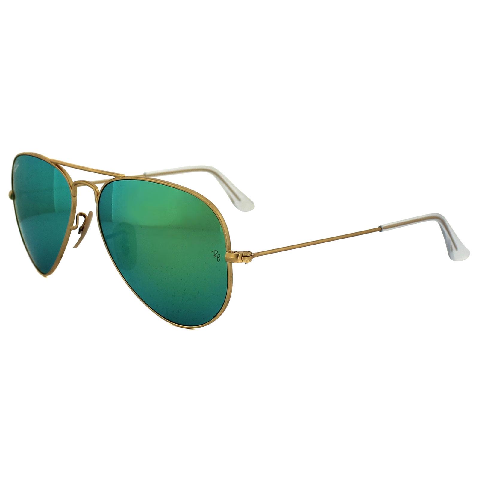 ce0a1c73dfb70 CENTINELA Gafas de sol Ray-Ban Aviator 3025 112 19 Flash verde oro espejo  pequeño