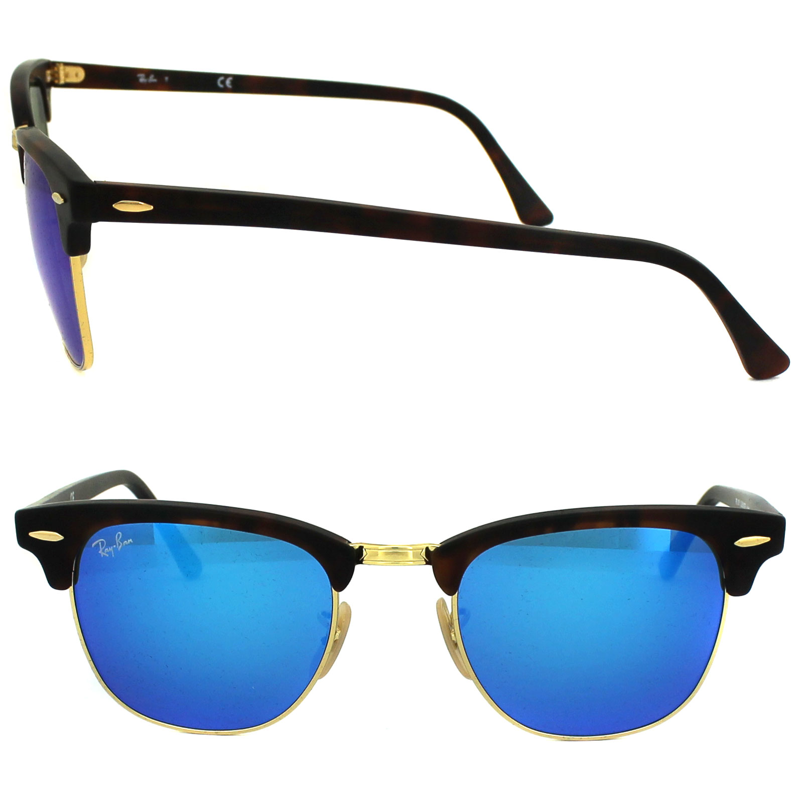 ray-ban clubmaster rb3016 sunglasses - tort/blue
