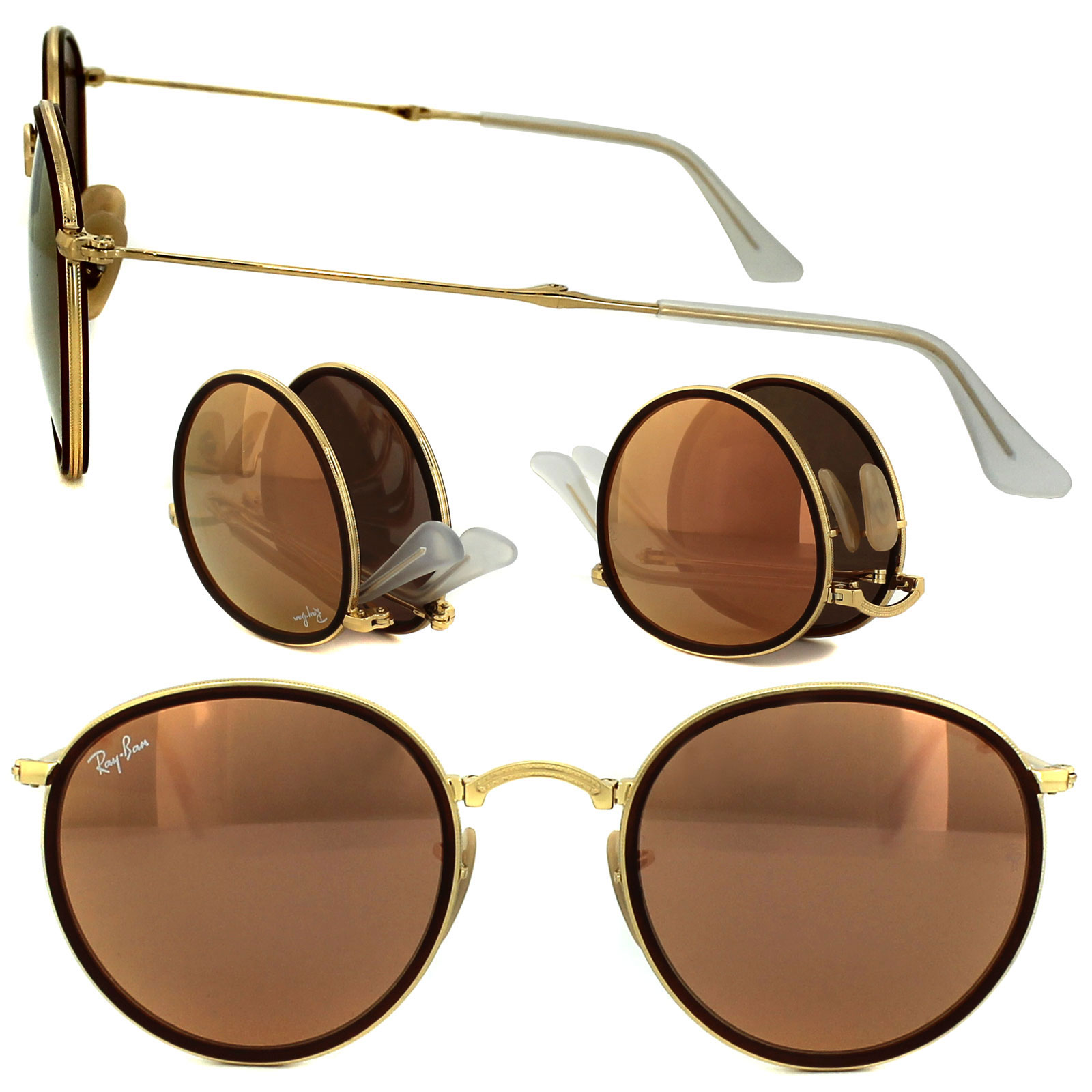 df1bbb10ed783 Sentinel Ray-Ban Sunglasses Round Folding 3517 001 Z2 Gold Copper Mirror