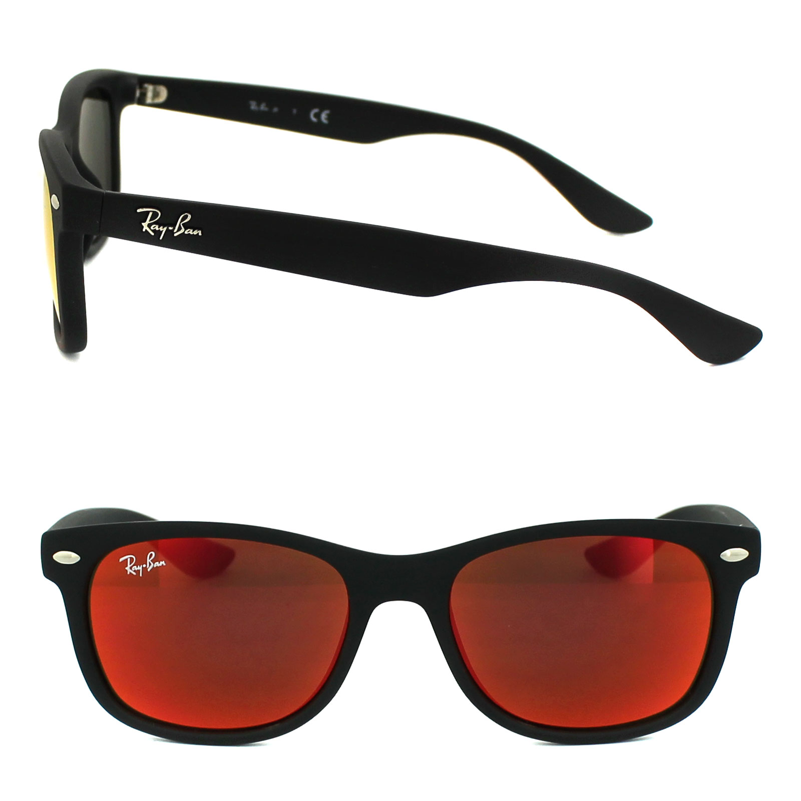 ray ban junior sonnenbrille 9052 100s6q matt schwarz rot. Black Bedroom Furniture Sets. Home Design Ideas