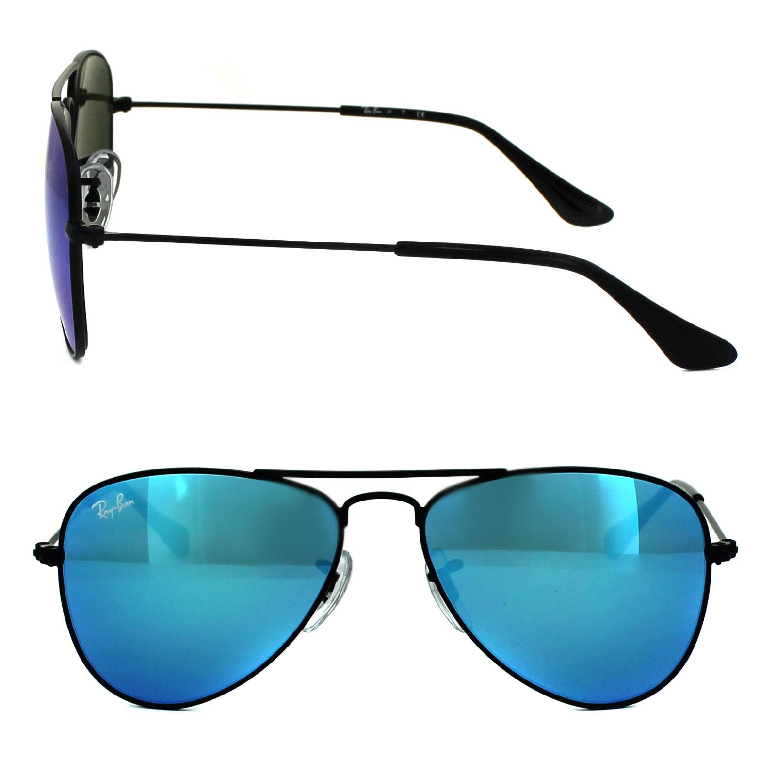 dd9e7c6ecf6b6 Sentinel Ray-Ban Junior Sunglasses 9506 201 55 Black Blue Flash Mirror