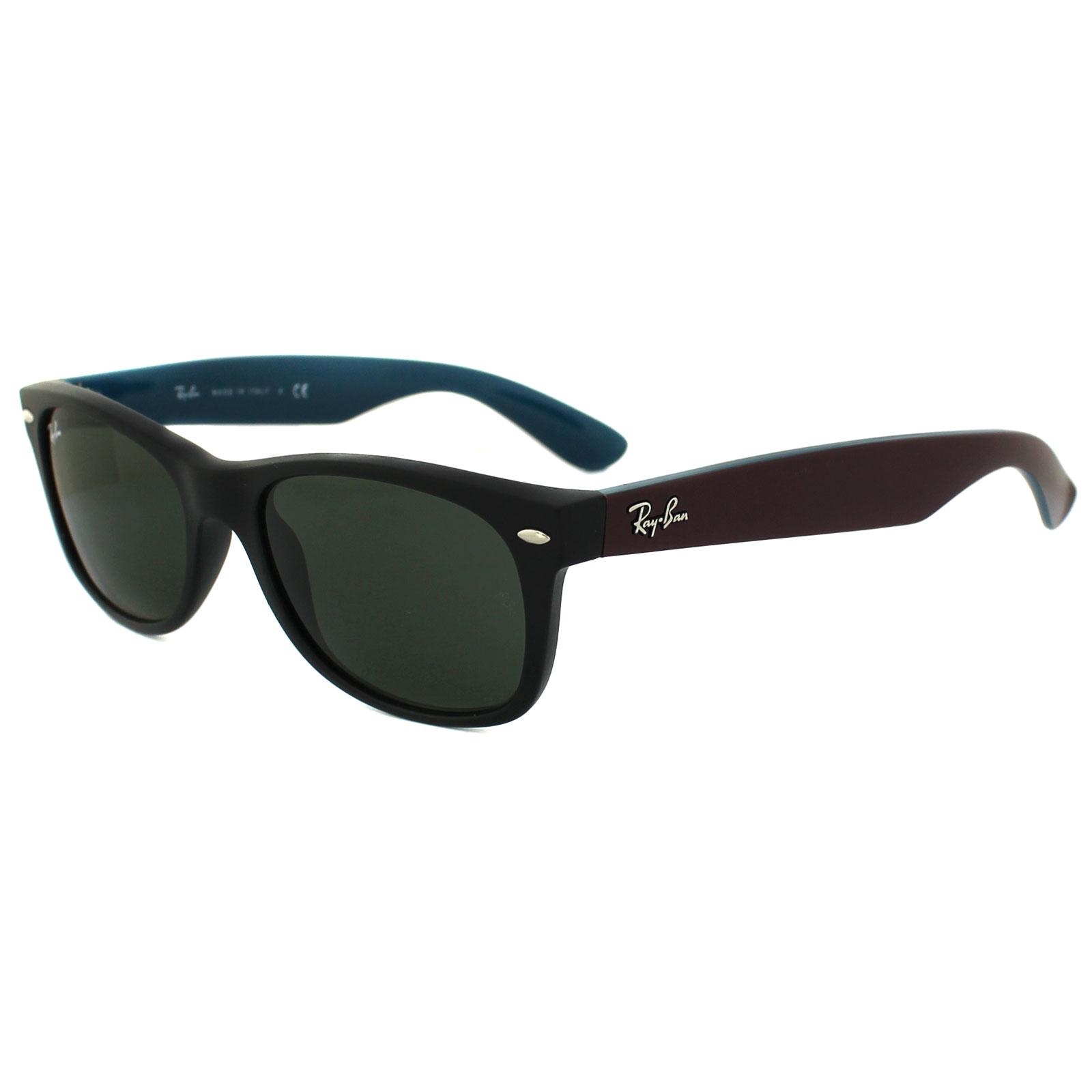 a6cad45e6c6 Ray-Ban Sunglasses New Wayfarer 2132 6182 Matt Black Purple   Blue Green  Small Thumbnail ...