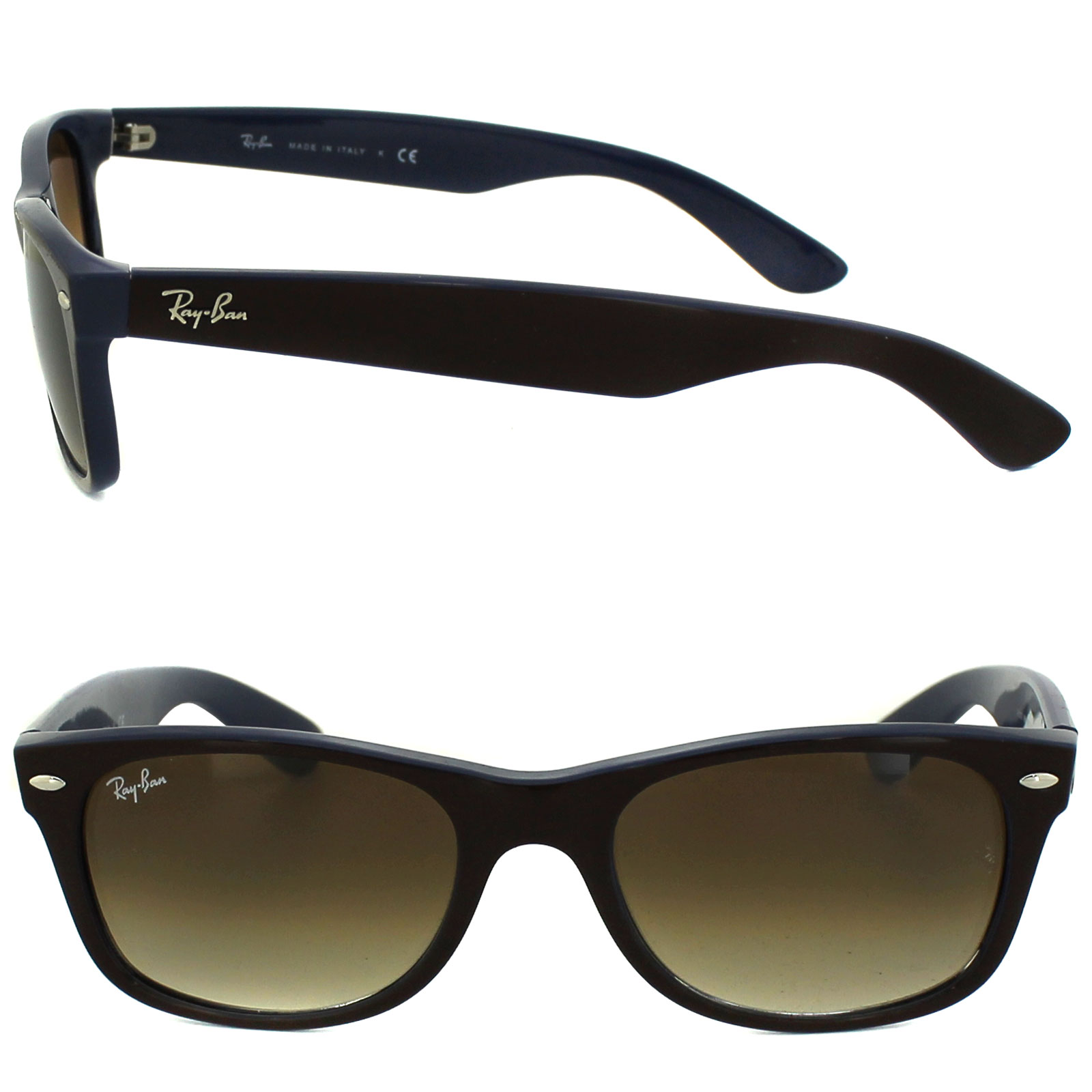 49806fd1027 Sentinel Ray-Ban Sunglasses New Wayfarer 2132 874 51 Top Brown Blue Brown  Gradient Small