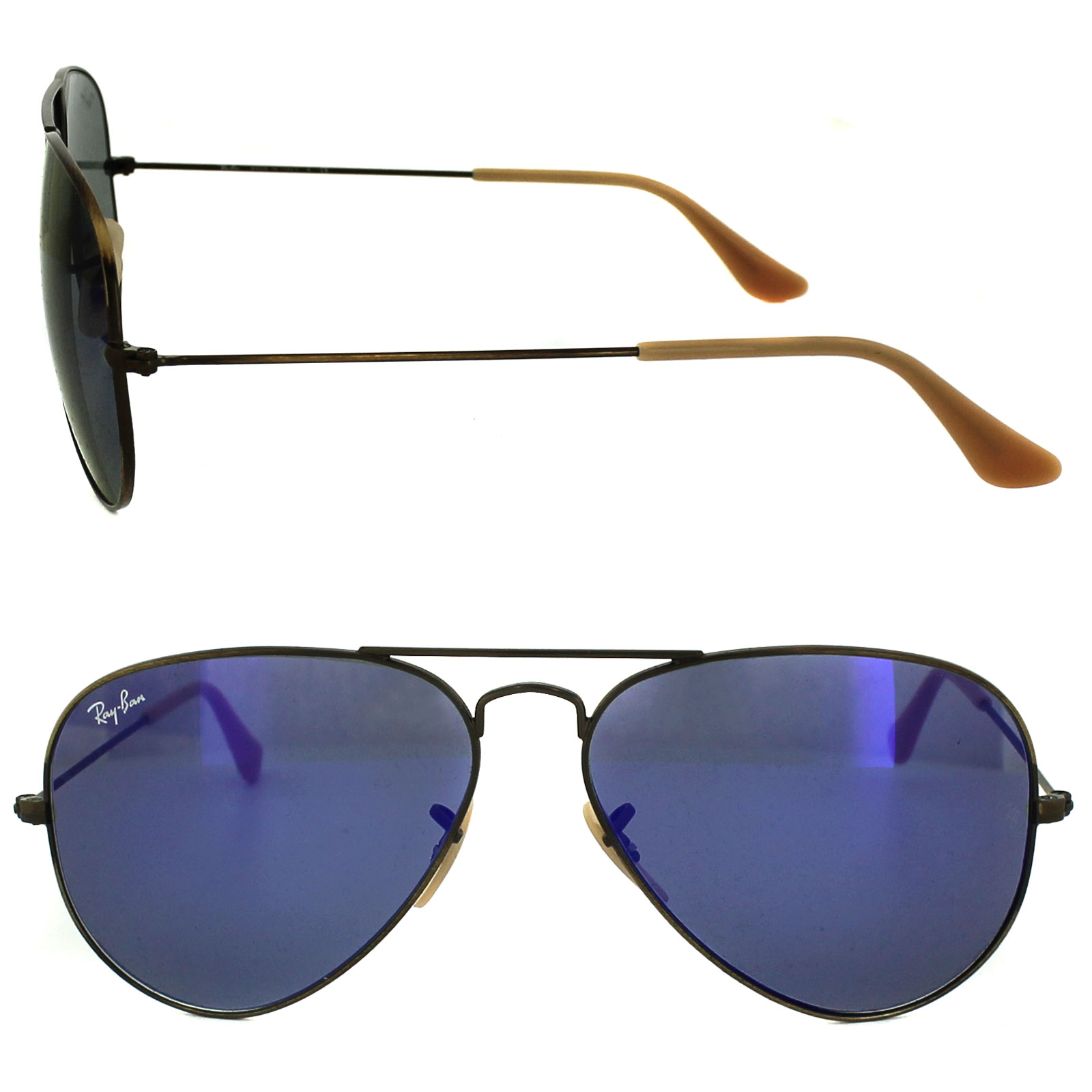 18a0693230 Sentinel Ray-Ban Sunglasses Aviator 3025 167 68 Brushed Bronze Blue Violet  Flash Mirror M