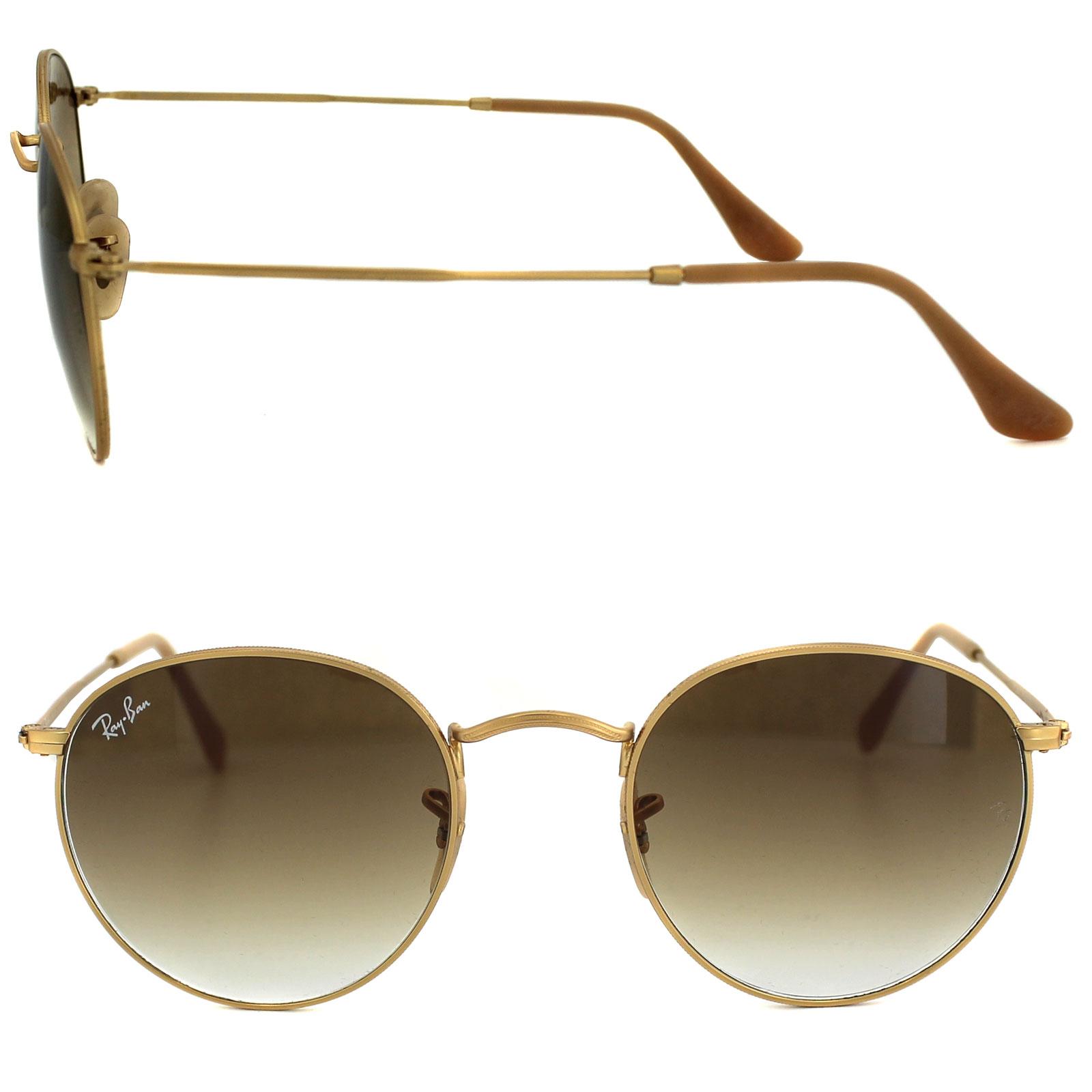 7ae09eaa3b Sentinel Ray-Ban Sunglasses Round Metal 3447 112 51 Gold Light Brown  Gradient