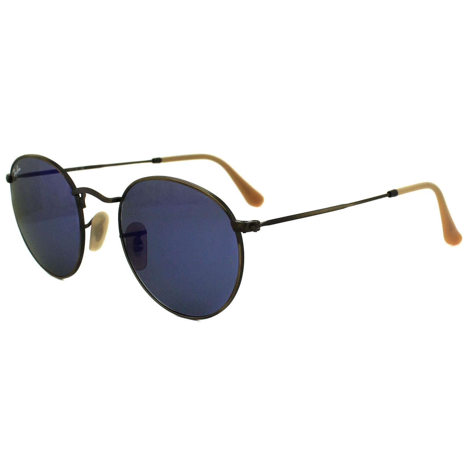 e8711e0c9 ... norway sentinel ray ban sunglasses round metal 3447 167 68 brushed  bronze blue flash mirror m