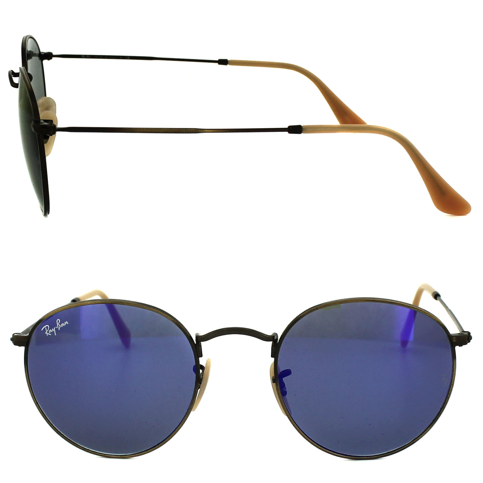 6c0d4699130 Sentinel Ray-Ban Sunglasses Round Metal 3447 167 68 Brushed Bronze Blue  Flash Mirror M