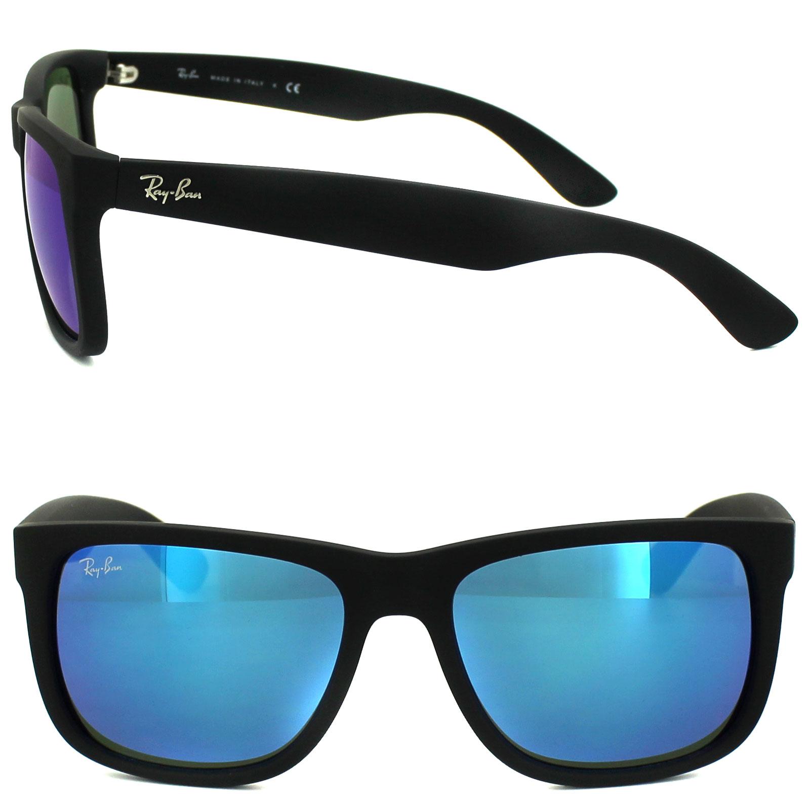 3cb5ebc3e Sentinel Ray-Ban Sunglasses Justin 4165 622/55 Rubber Black Blue Mirror