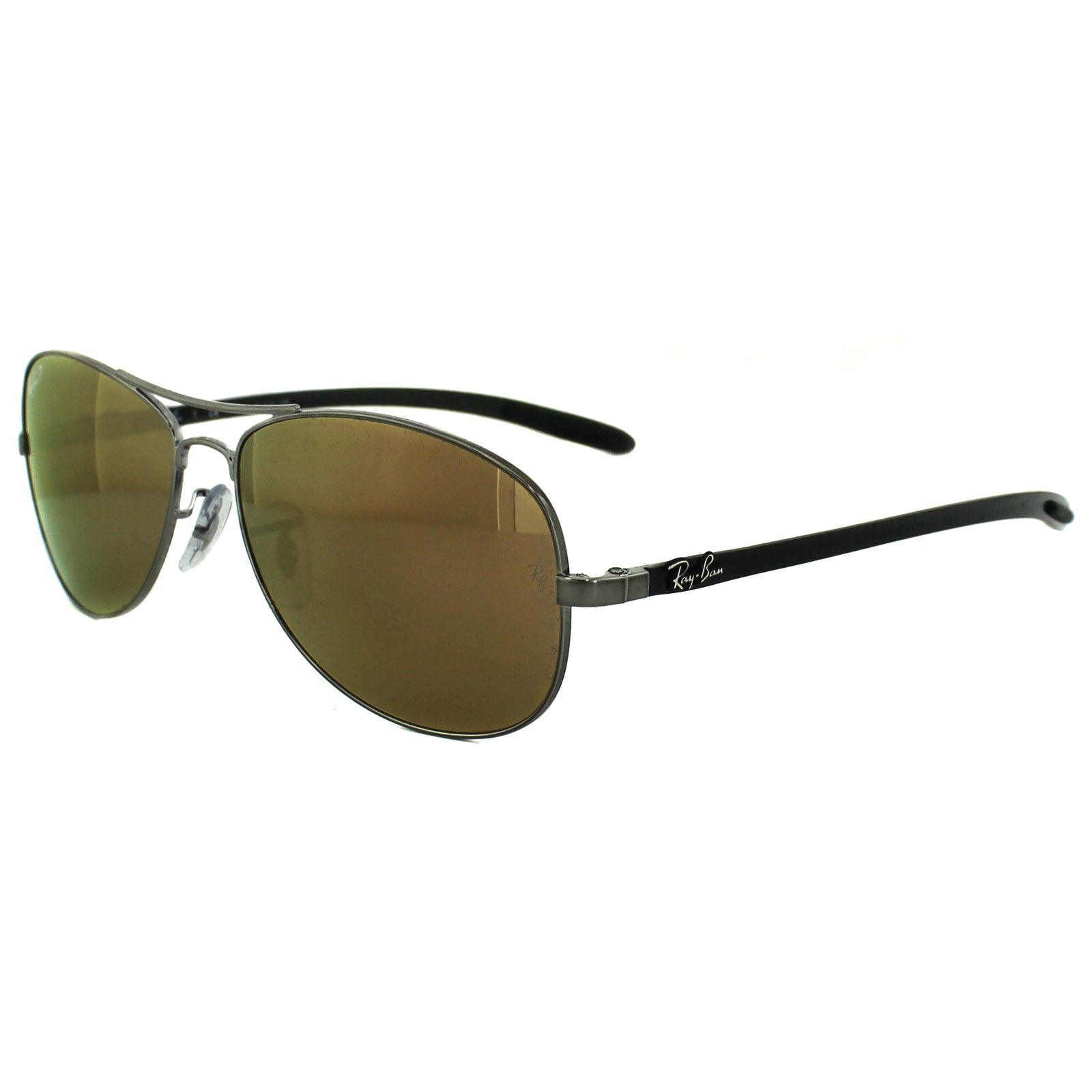c40547fd30696 Sentinel Ray-Ban Sunglasses 8301 004 N3 Shiny Gunmetal Grey Brown Mirror  Gold Polarized