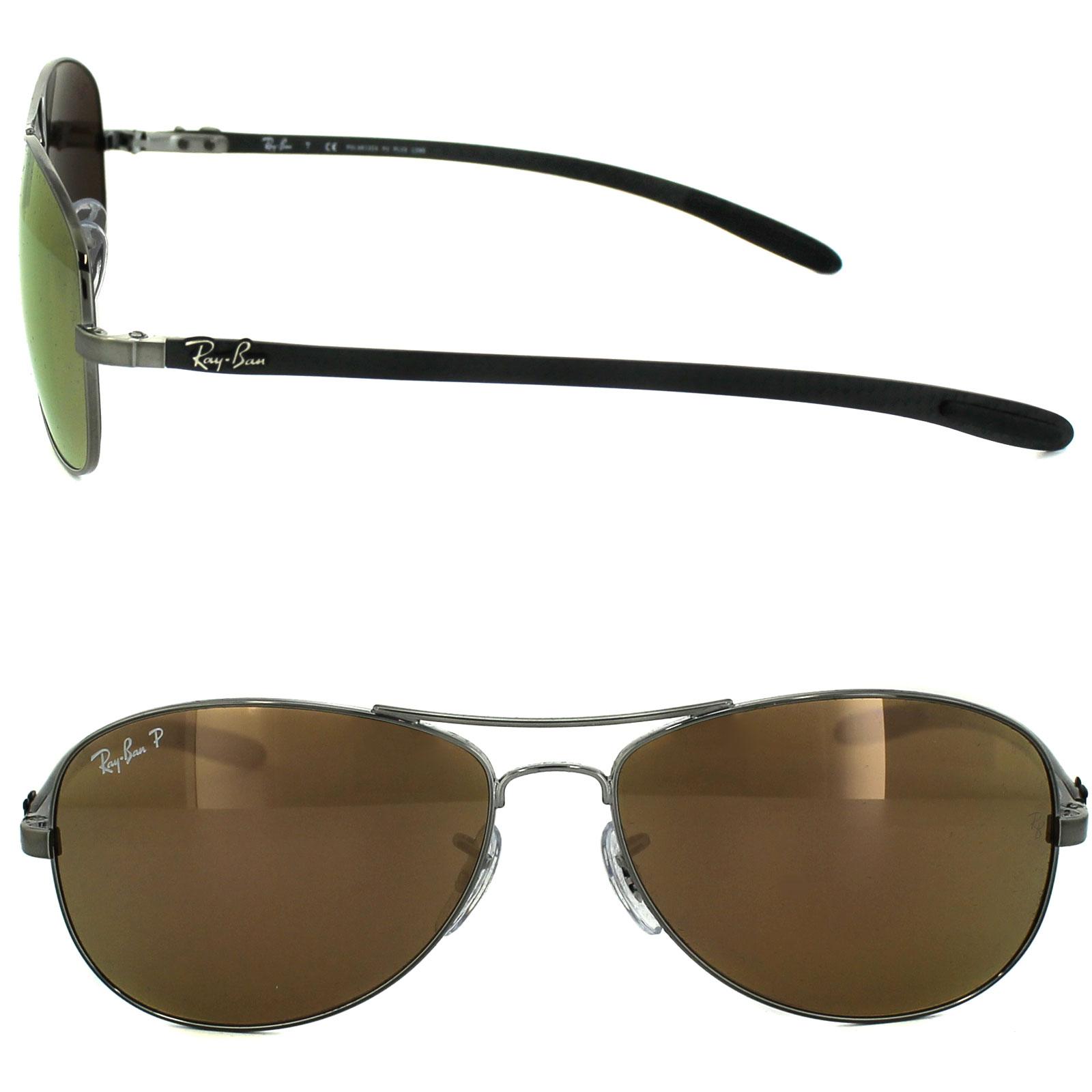 392fb88c121 Sentinel Ray-Ban Sunglasses 8301 004 N3 Shiny Gunmetal Grey Brown Mirror  Gold Polarized