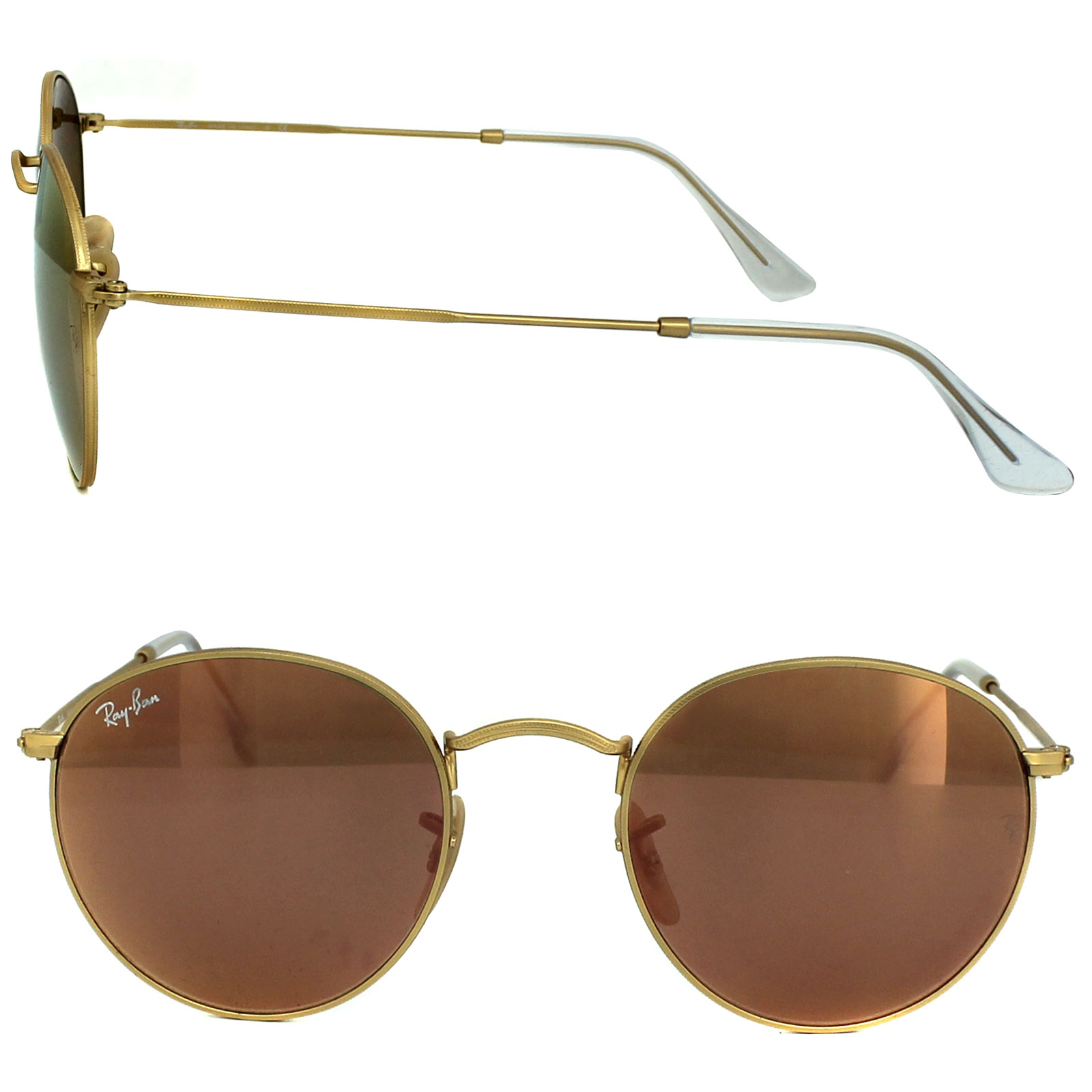 5a69a86da35536 Sentinel Ray-Ban Sunglasses Round Metal 3447 112 Z2 Gold Copper Flash  Mirror M