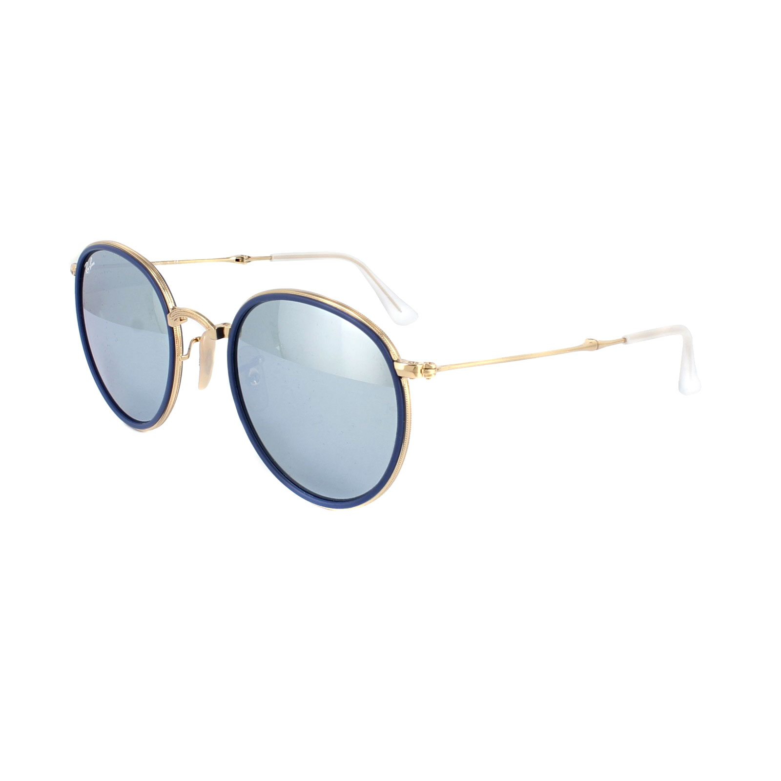 37fc576c0 Sentinel Ray-Ban Sunglasses Round Folding 3517 001/30 Gold Silver Flash  Mirror