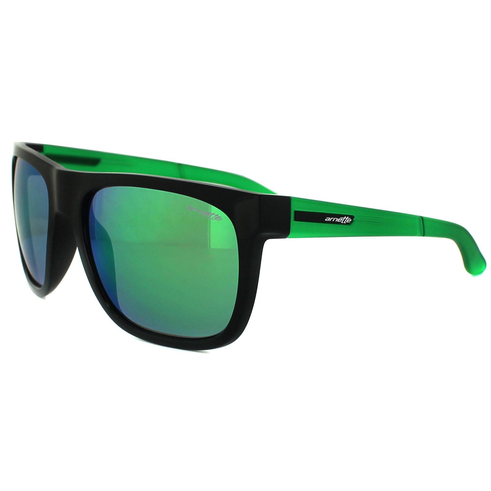f56a49837fd Sentinel Arnette Sunglasses 4143 Fire Drill 22453R Shiny Black    Transparent Green Green