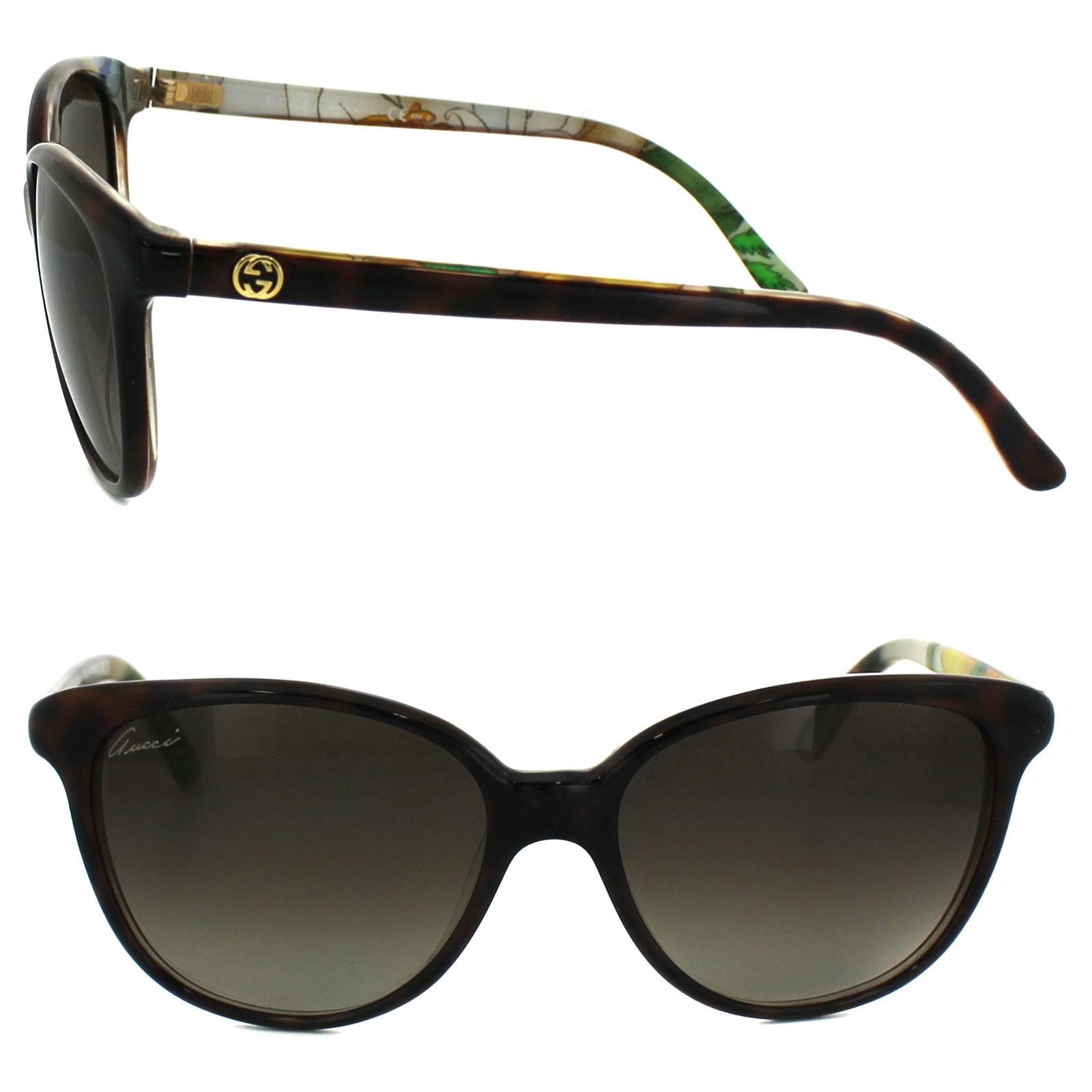 fe15da288e Sentinel Gucci Sunglasses 3633 N S Z99 HA Dark Havana Flower Brown Gradient