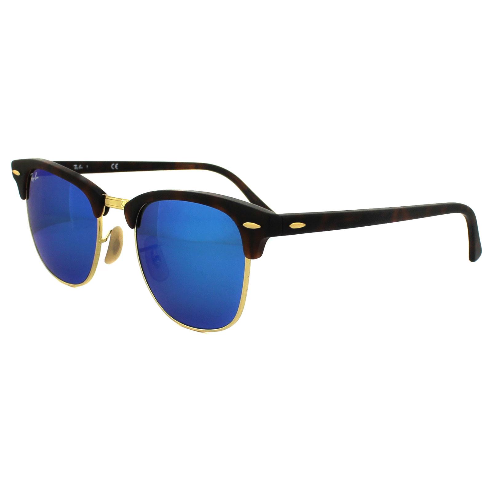 9910b886b2 Details about Ray-Ban Sunglasses Clubmaster 3016 114517 Matt Tortoise Blue  Flash Mirror Large