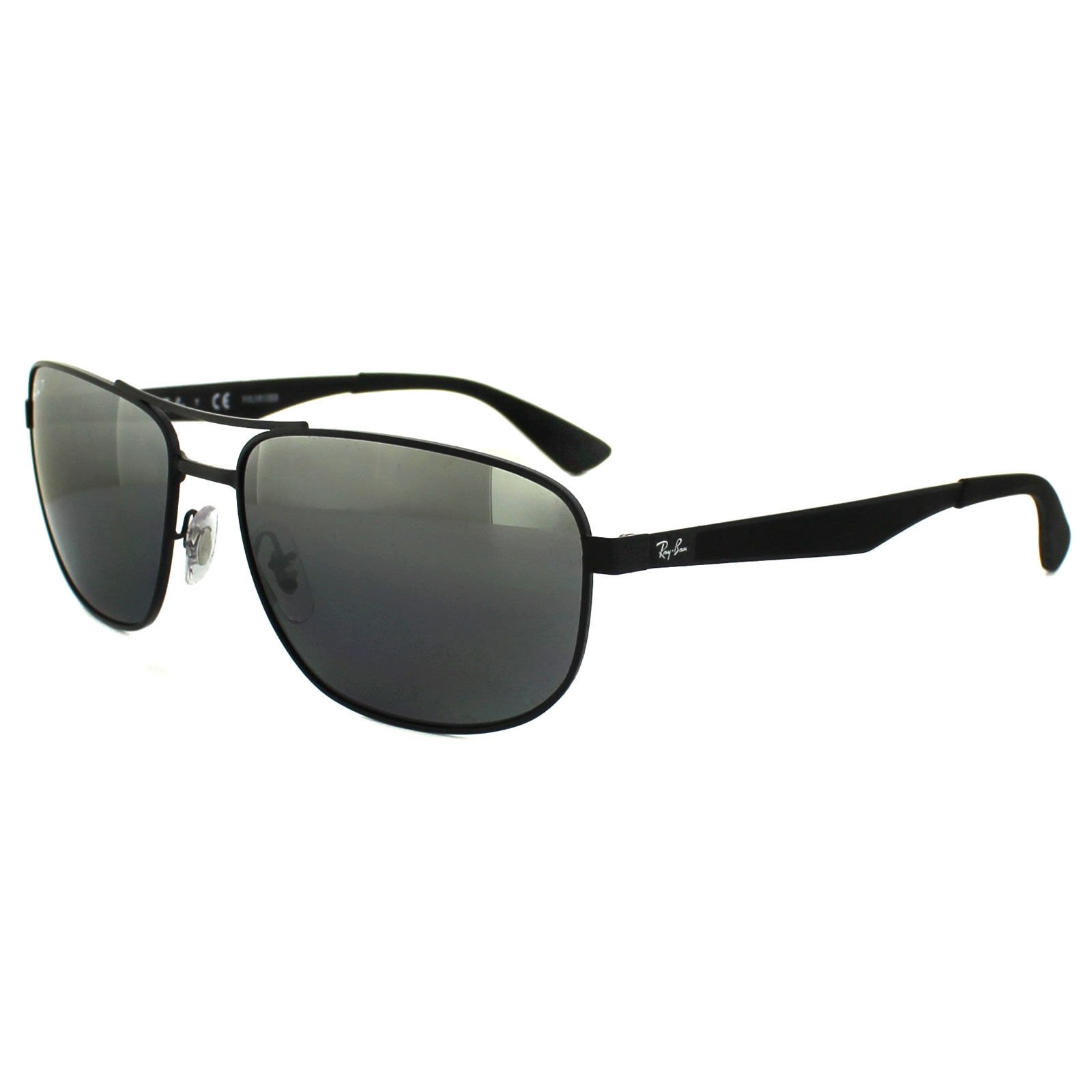 8b5b265674126 Sentinel Ray-Ban Sunglasses 3528 006 82 Matt Black Silver Mirror Polarized  61mm
