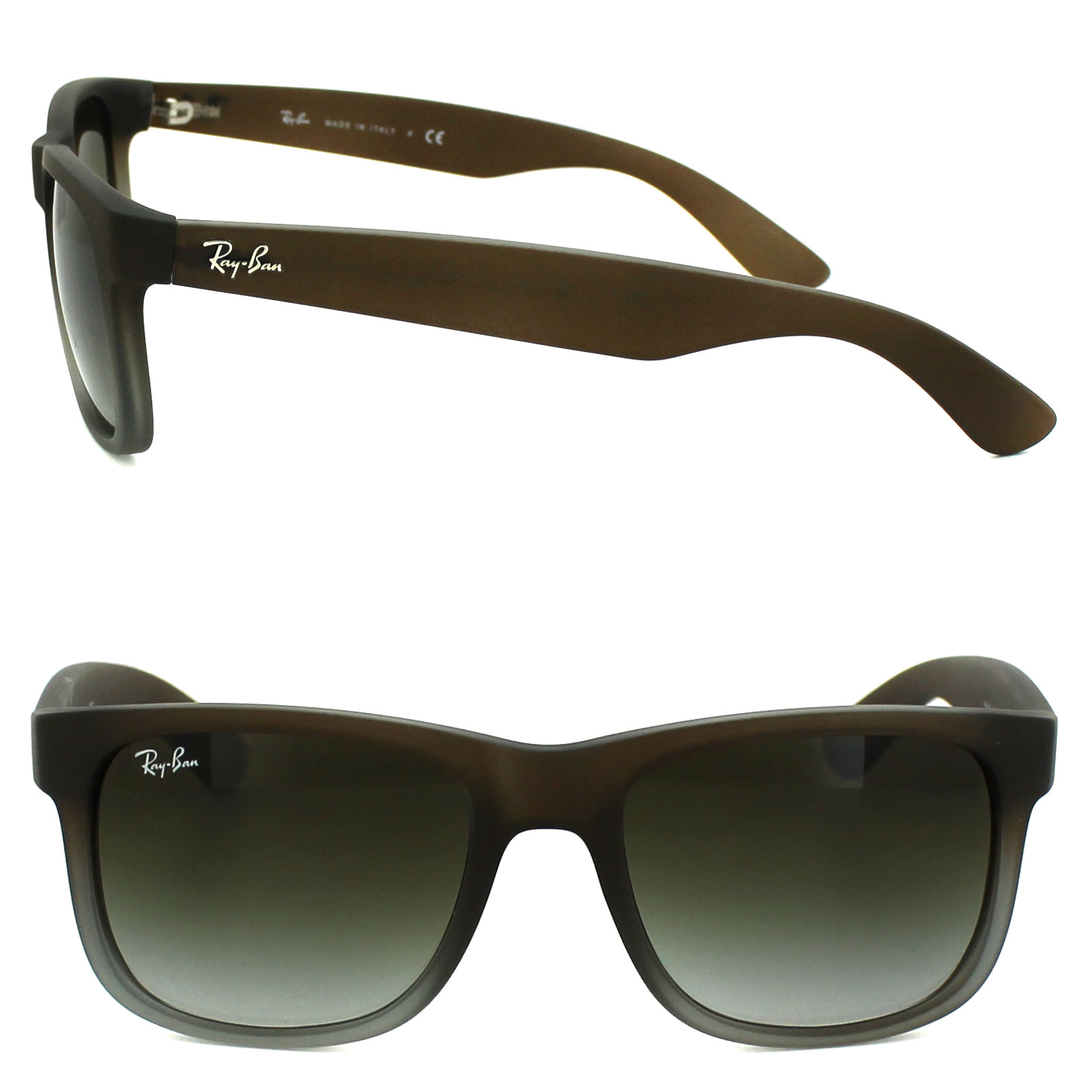 cc55f2955d Sentinel Ray-Ban Sunglasses Justin 4165 854 7Z Rubber Brown Fade Green  Gradient Small