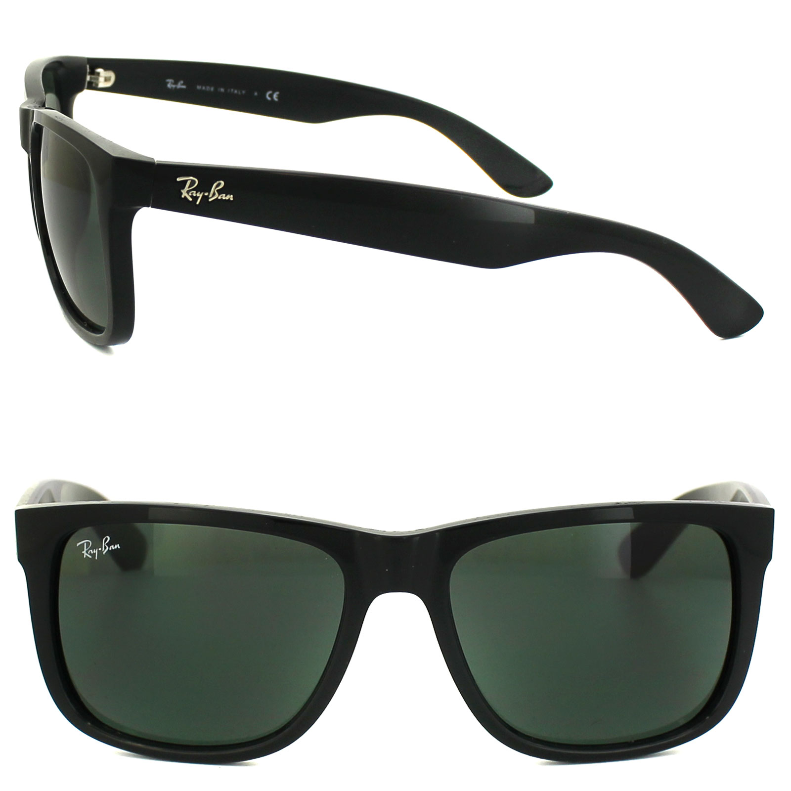 Sentinel Ray-Ban Sunglasses Justin 4165 601 71 Shiny Black Green Large 55mm c67d4d82d5b1