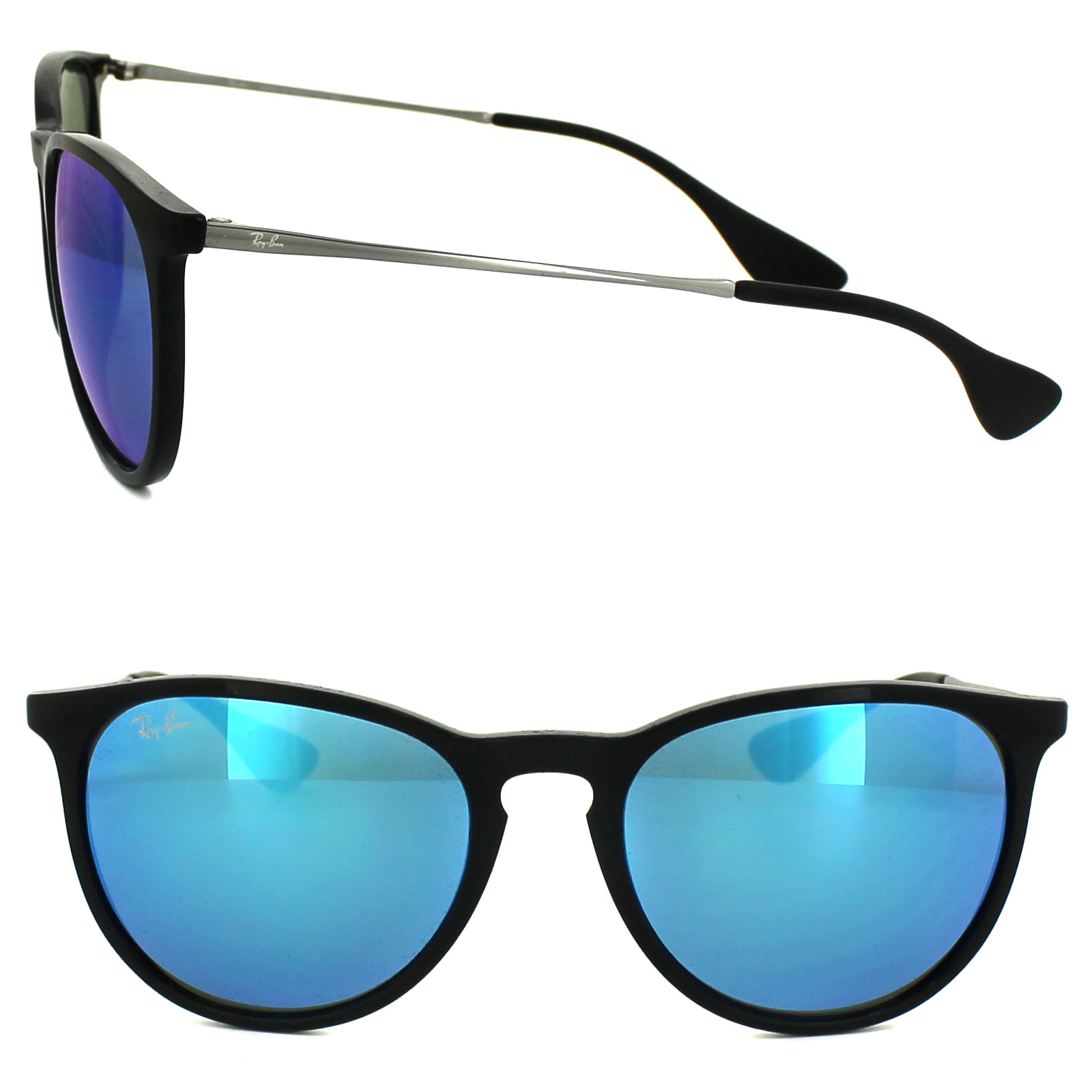 1eb5e1c3a2 Sentinel Ray-Ban Sunglasses Erika 4171 601 55 Black   Gunmetal Blue Mirror