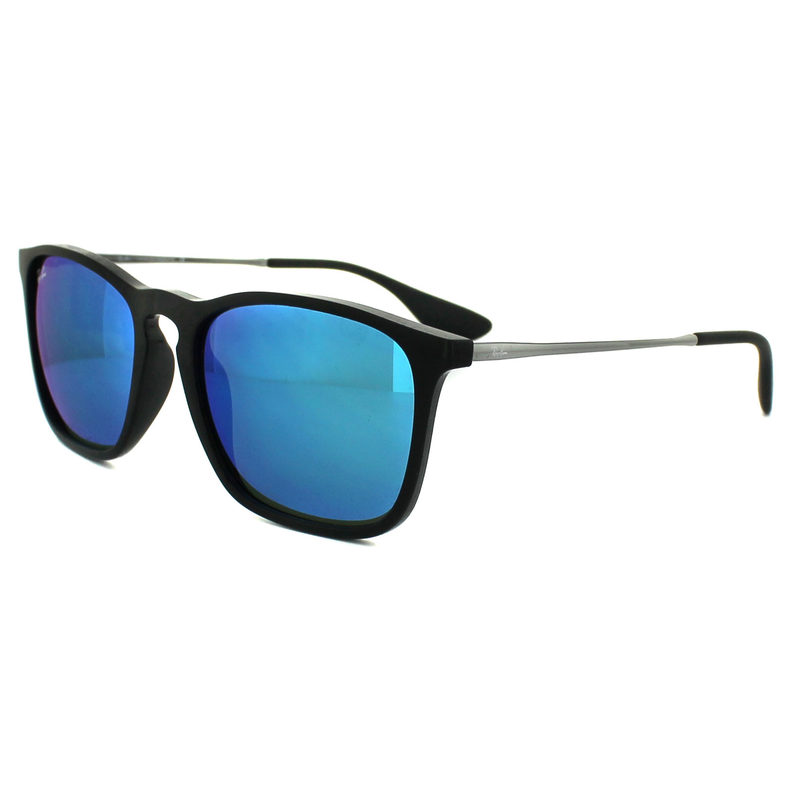 ceb76be14a Details about Ray-Ban Sunglasses Chris 4187 601 55 Black   Gunmetal Blue  Mirror