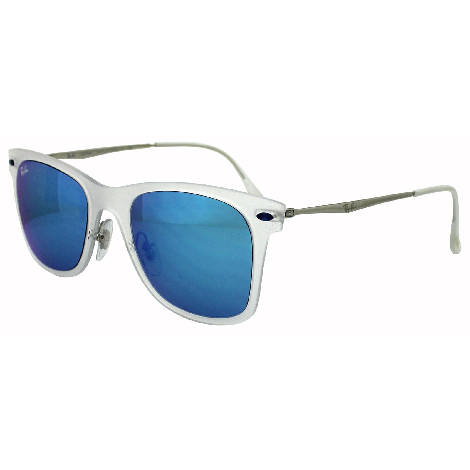 b278780bee555 Sentinel Ray-Ban Sunglasses Wayfarer Light Ray 4210 646 55 Transparent Blue  Mirror