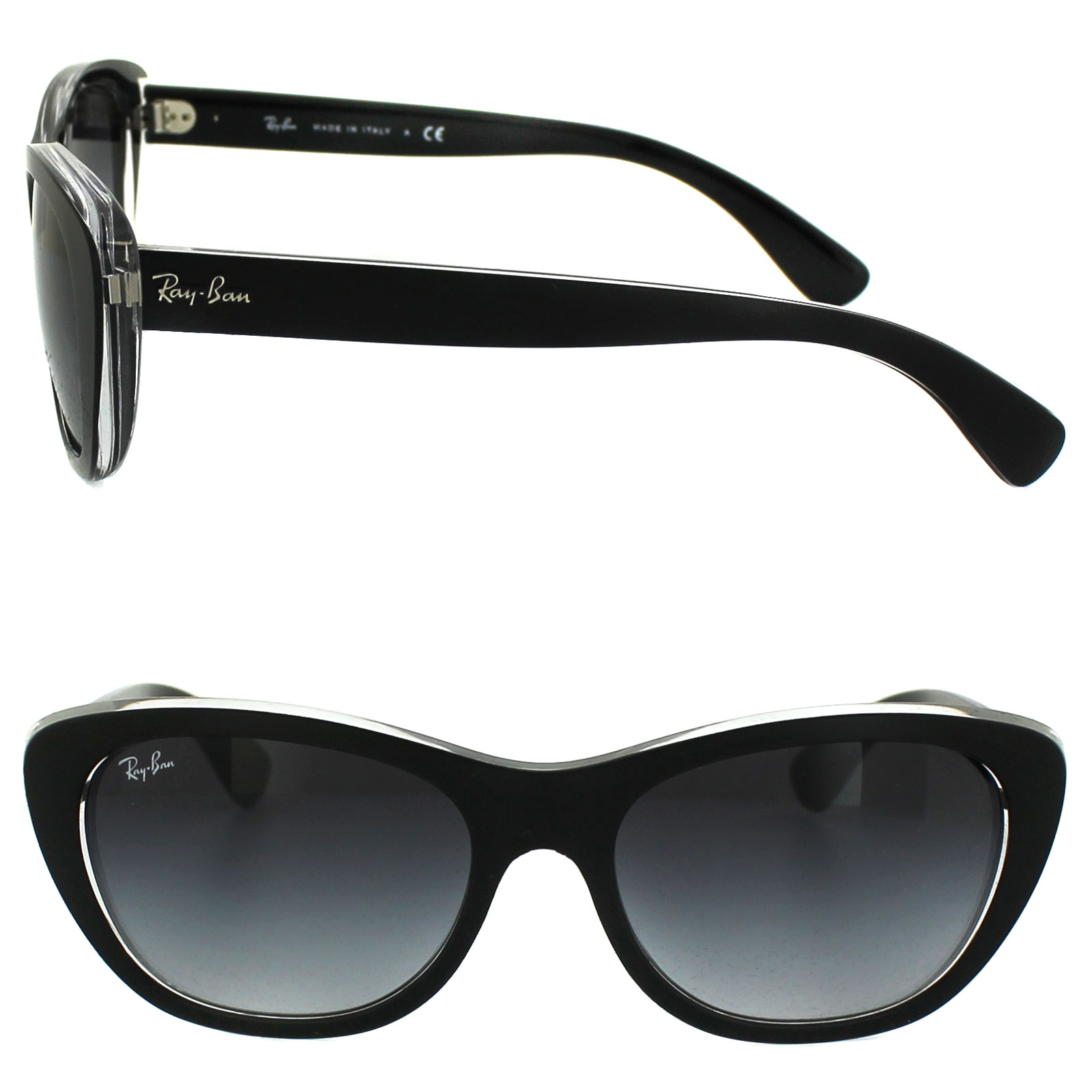 4aa30623c291e Sentinel Ray-Ban Sunglasses 4227 60528G Top Matt Black on Transparent Grey  Gradient
