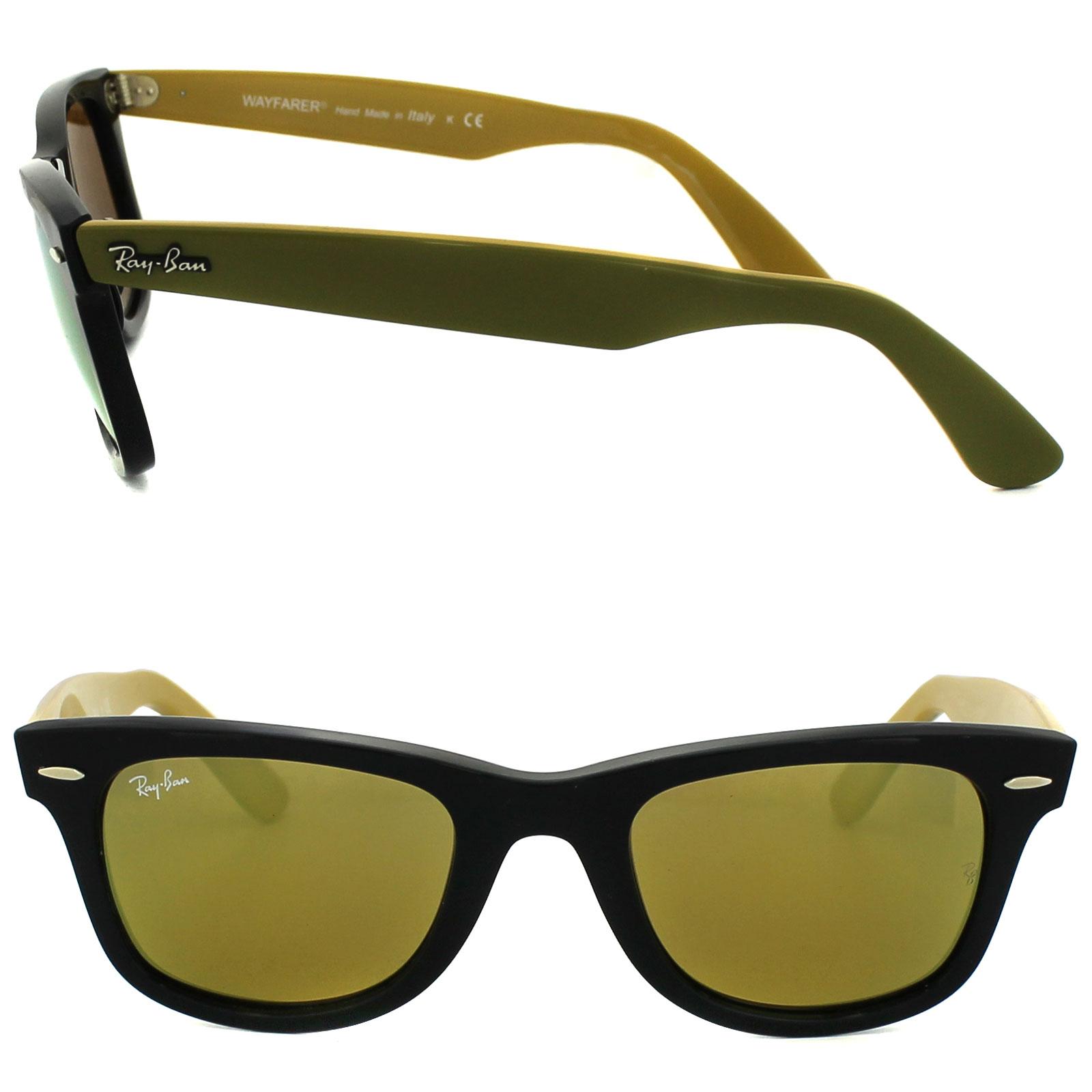 953504e866f89 Sentinel Ray-Ban Sunglasses Wayfarer 2140 117393 Bicolor Black with Green    Yellow Yellow
