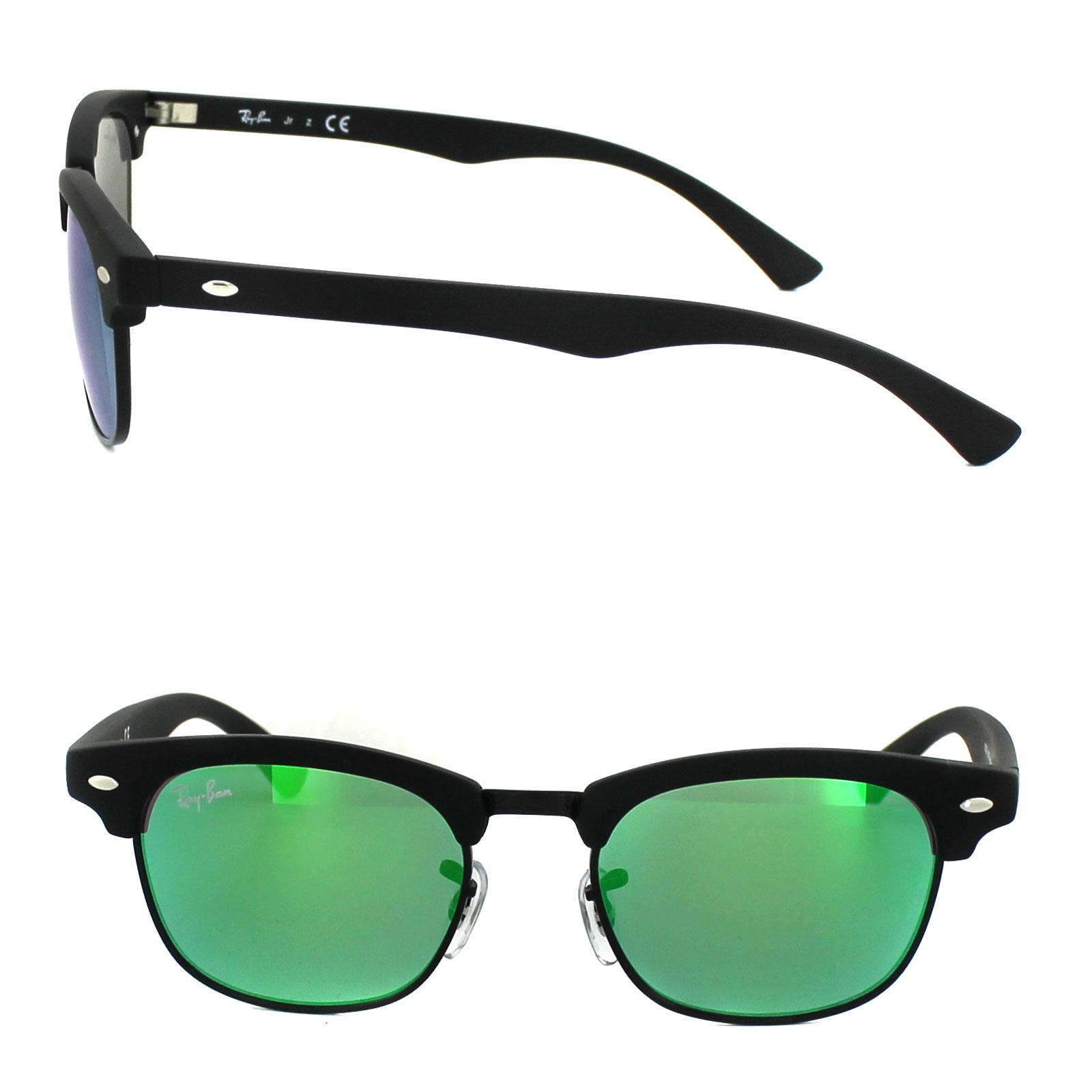 d01673d4fc5 Sentinel Ray-Ban Junior Sunglasses 9050 100S3R Black Green Flash Mirror