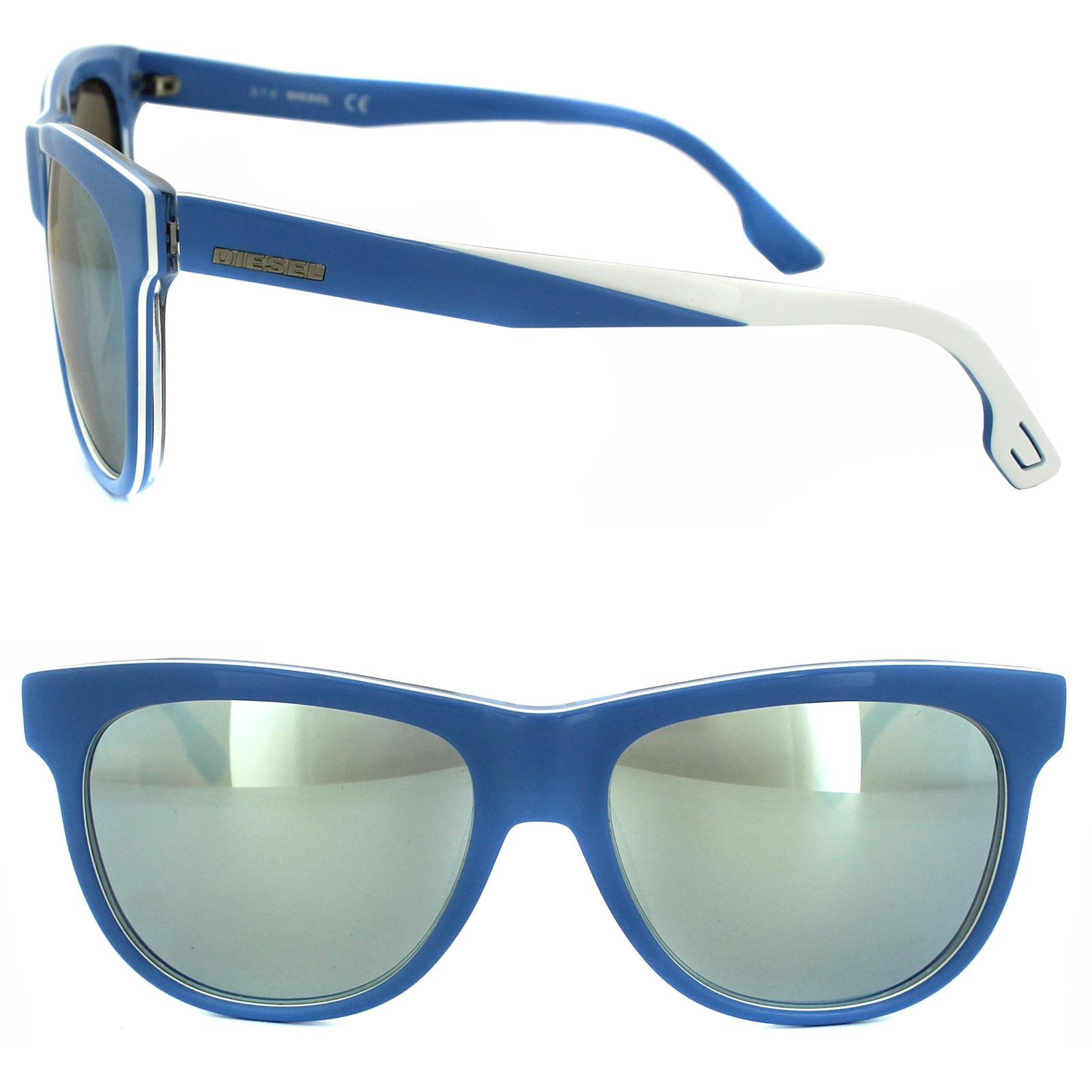910e075689 Sentinel Diesel Sunglasses DL0112 86C Blue   White Grey Mirror
