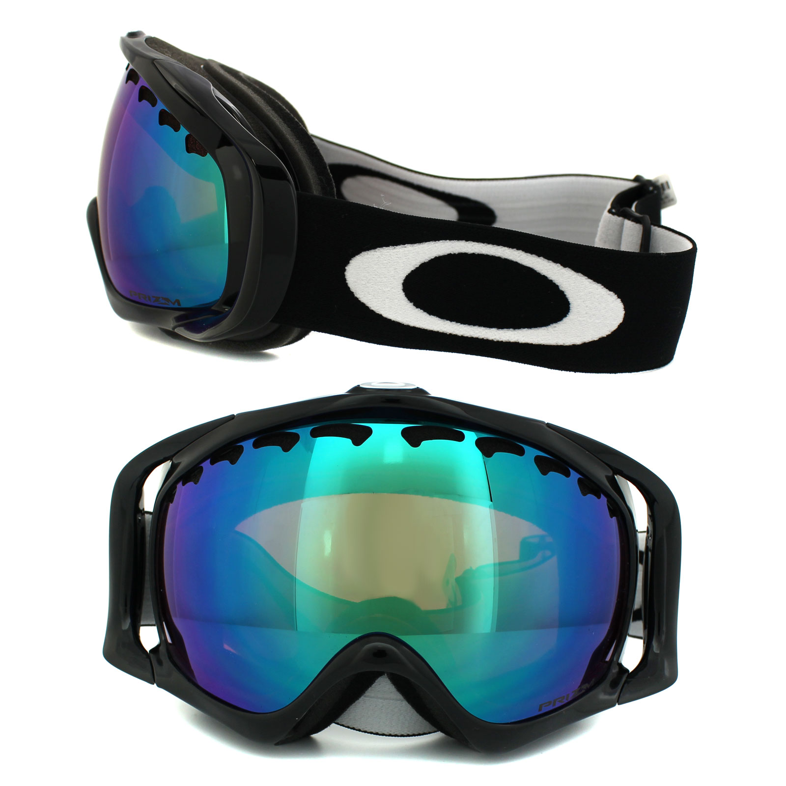 d3a1381e4f1e Sentinel Oakley Ski Snow Goggles Crowbar OO7005-02 Jet Black Prizm Jade  Iridium