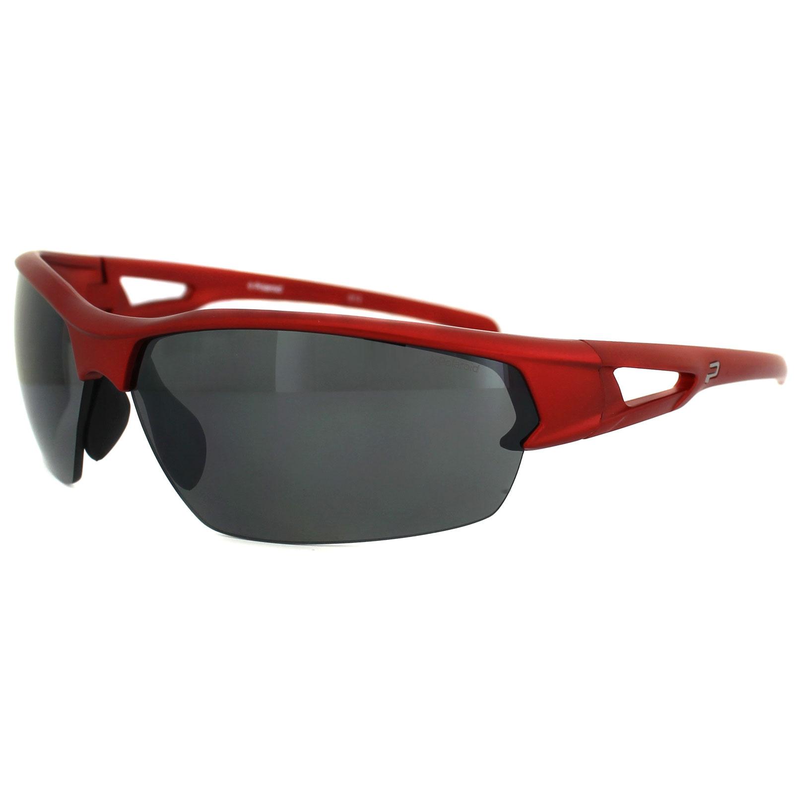 3698572f8ad4 Sentinel Polaroid Sport Sunglasses P7329 33W JB Shiny Red Grey Silver  Mirror Polarized
