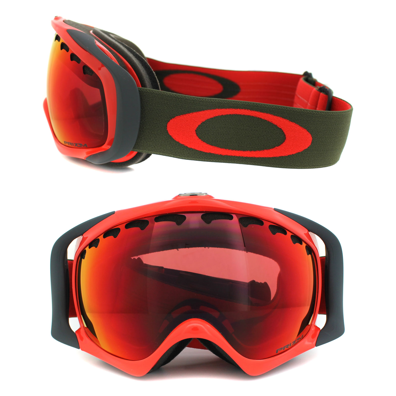 Oakley Ski Snow Goggles Crowbar Oo7005 37 Red Herb Prizm