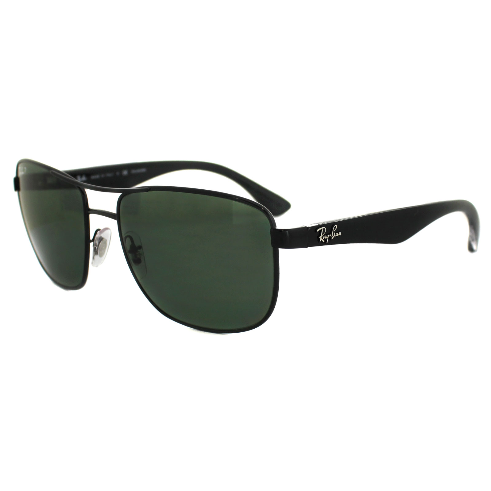 741545b7c4 Sentinel Ray-Ban Sunglasses 3533 002 9A Black   Transparent Green Polarized