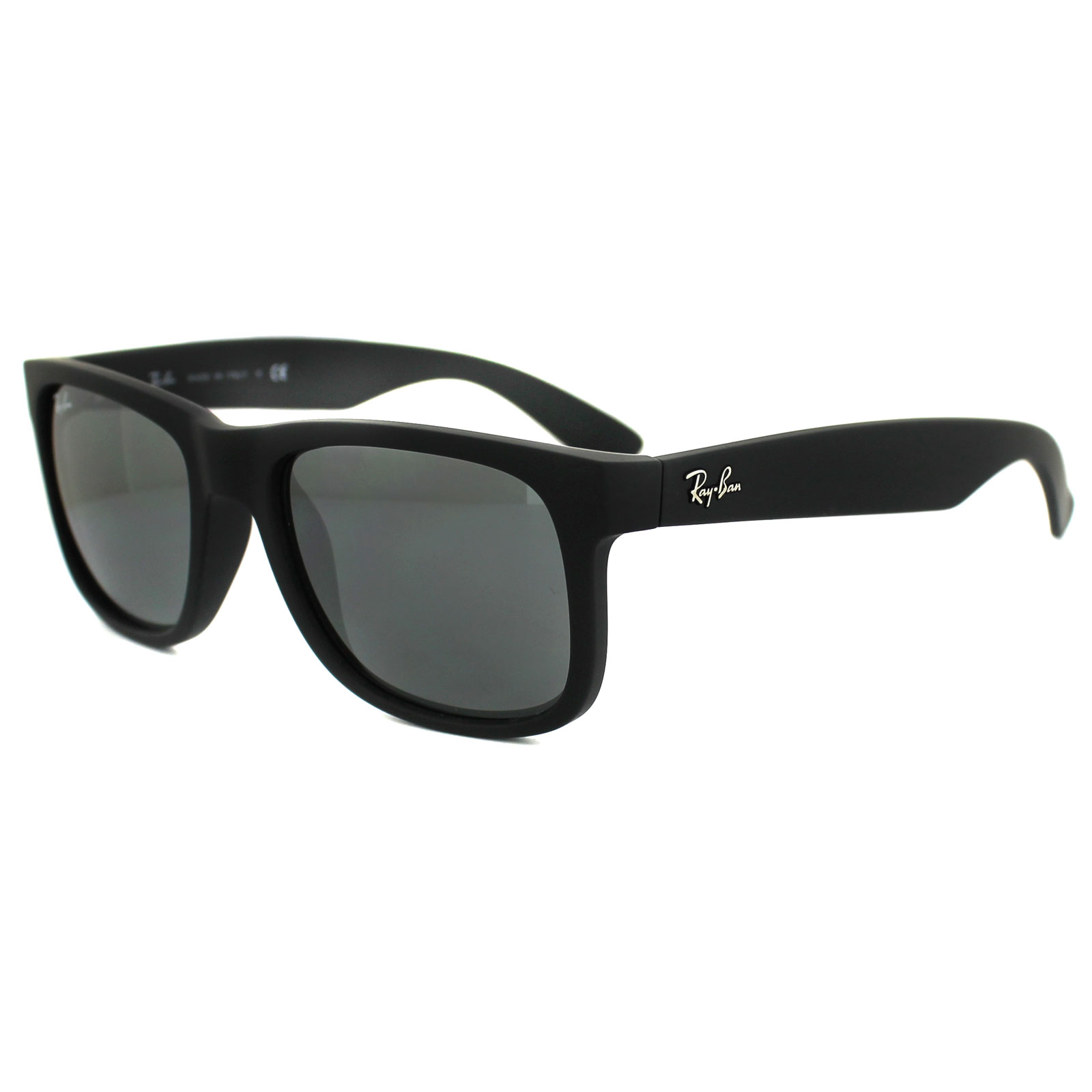 Sentinel Ray-Ban Sunglasses Justin 4165 622 6G Rubber Black Grey Mirror  Small 51mm 7be9ab6e04