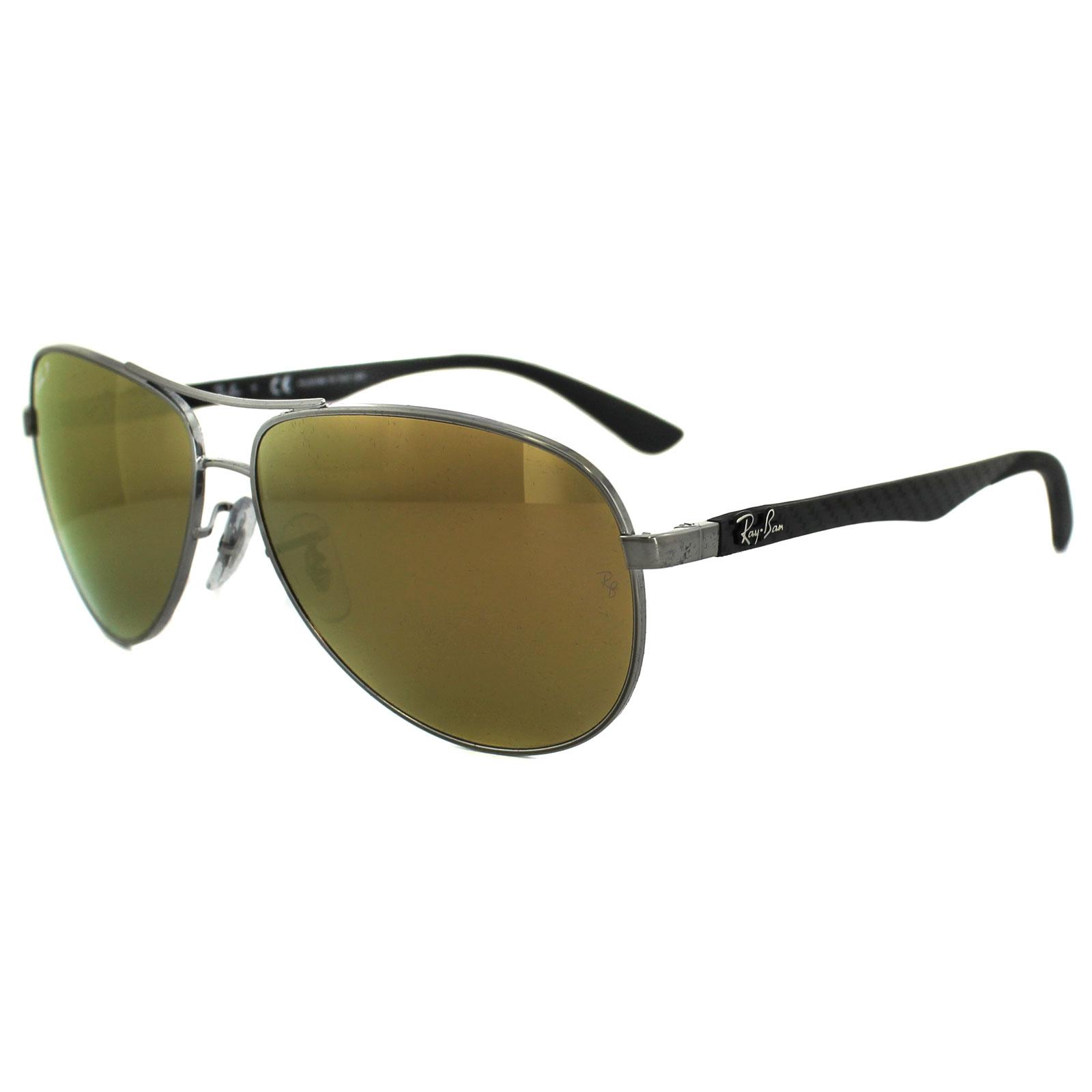 1bc26f81ef Sentinel Ray-Ban Sunglasses 8313 004 N3 Gunmetal Polarized Gold Mirror 61mm