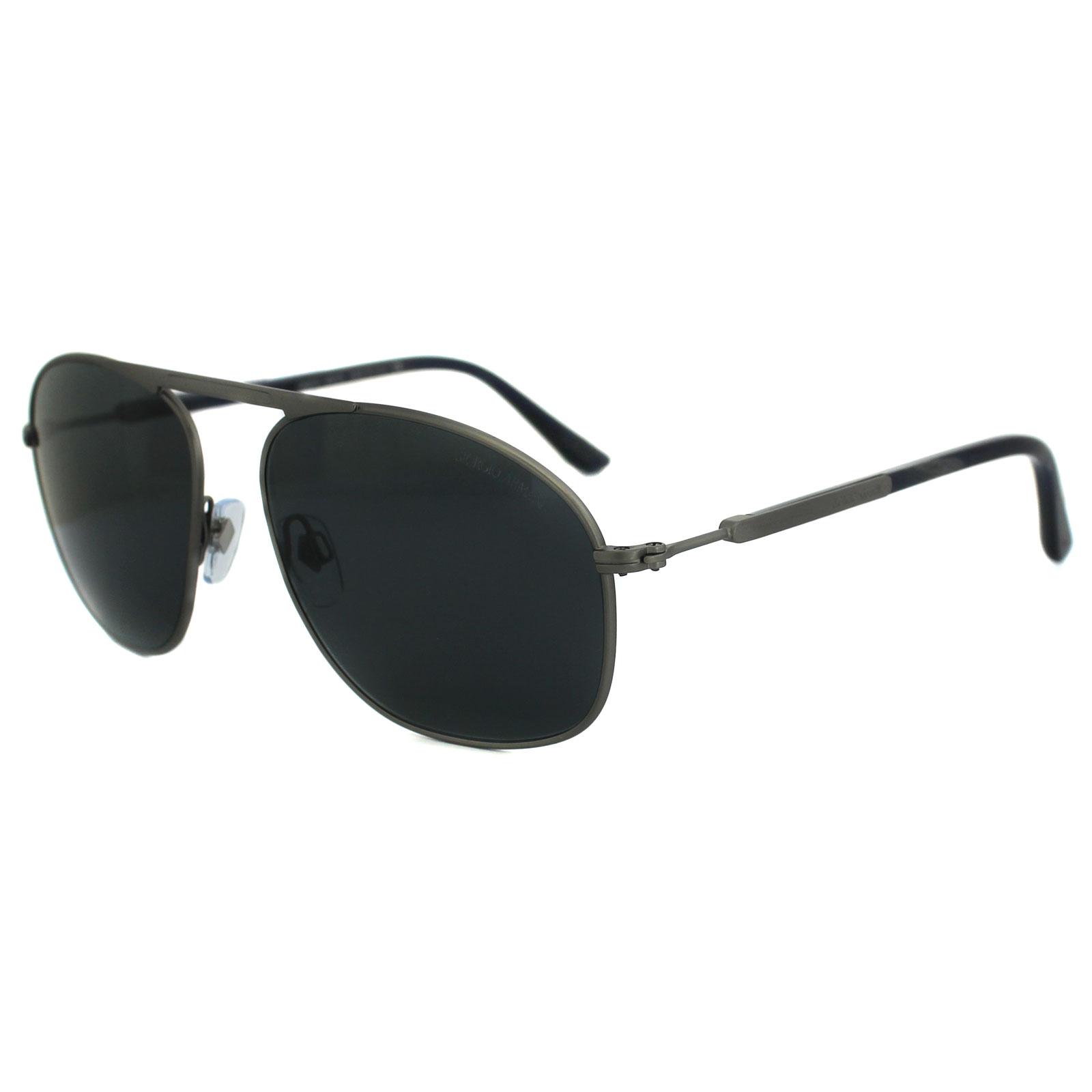 30a7f378547e Sentinel Giorgio Armani Sunglasses AR6015 3032R5 Matt Brushed Ruthenium  Grey Blue