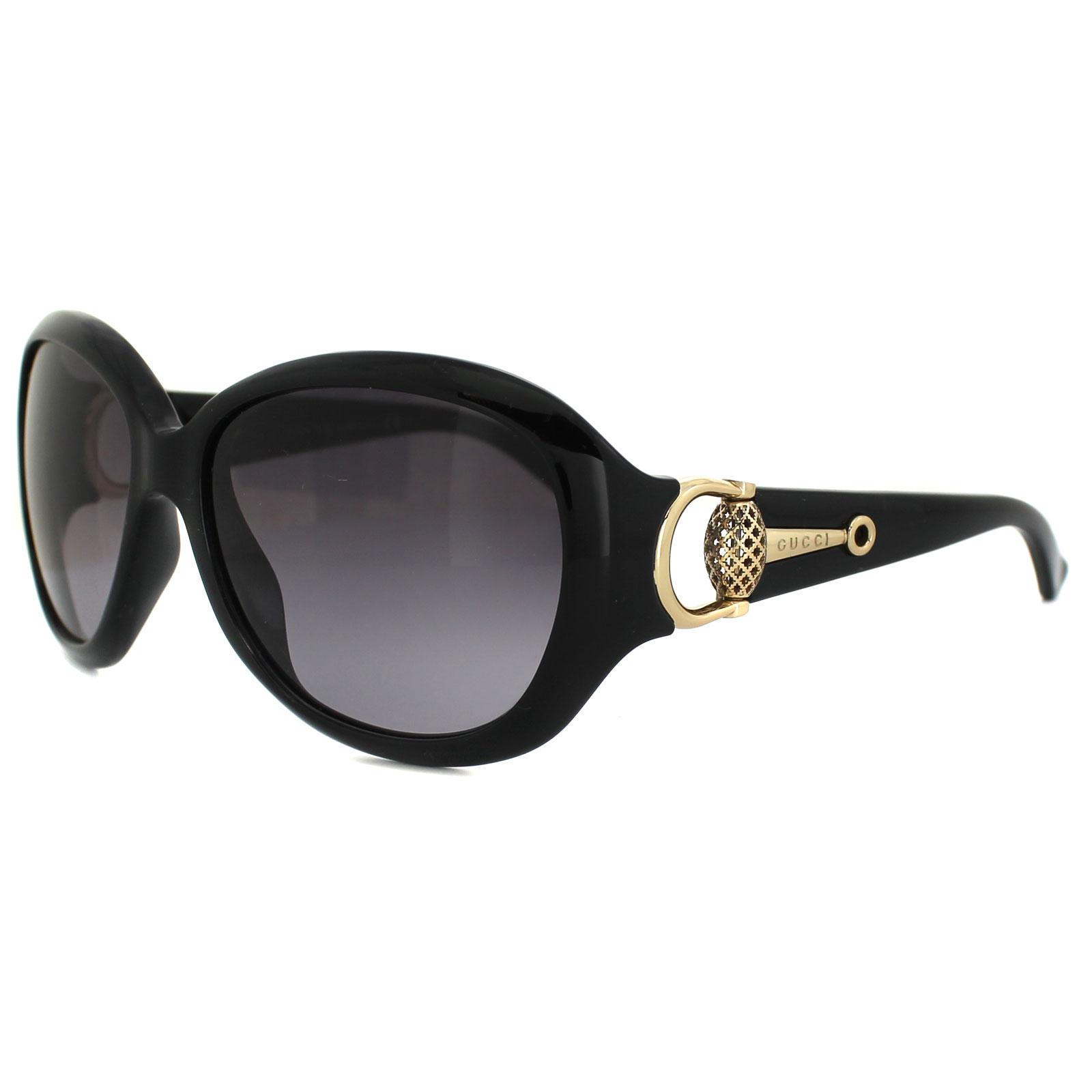 Gucci Gafas de sol 3712 D28 EU Brillante Negras Grises Degradadas   eBay