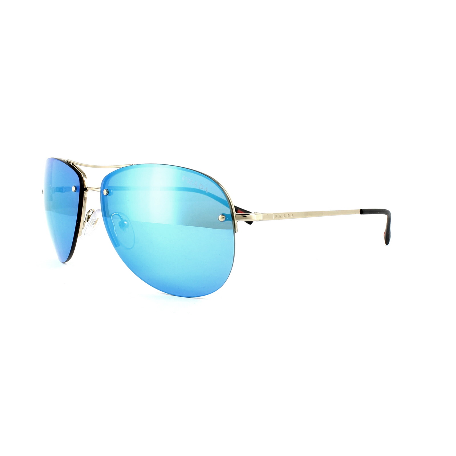 aa4d570bee9 Sentinel Prada Sport Sunglasses 50RS ZVN5M2 Pale Gold Blue Mirror